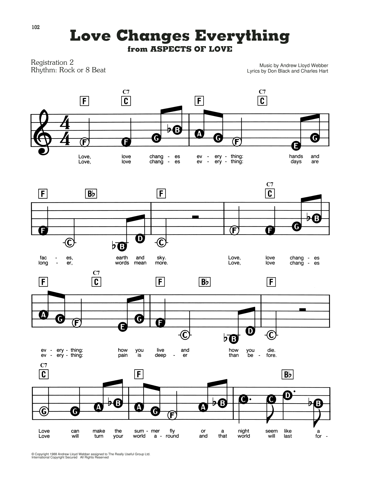 Love Changes Everything (from Aspects Of Love) Sheet Music