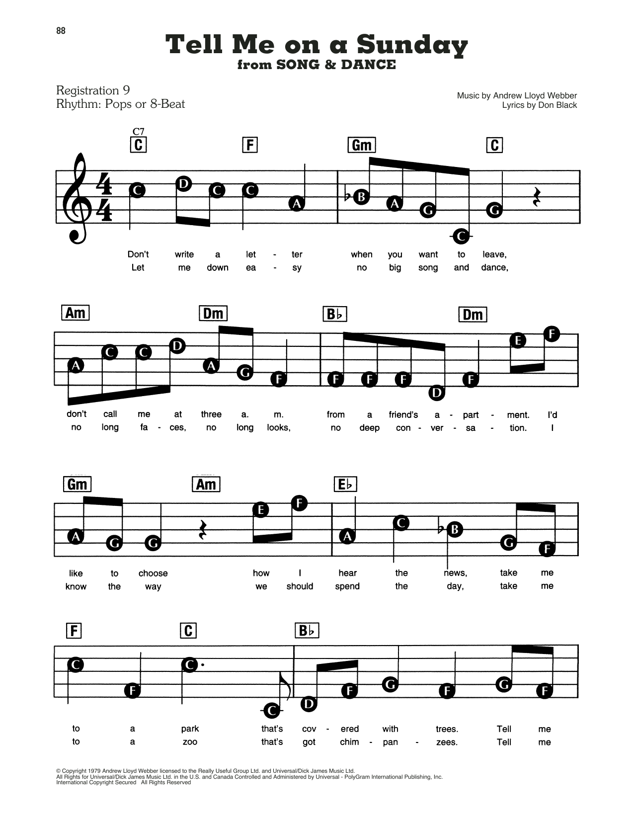 Tell Me On A Sunday (from Song And Dance) Sheet Music
