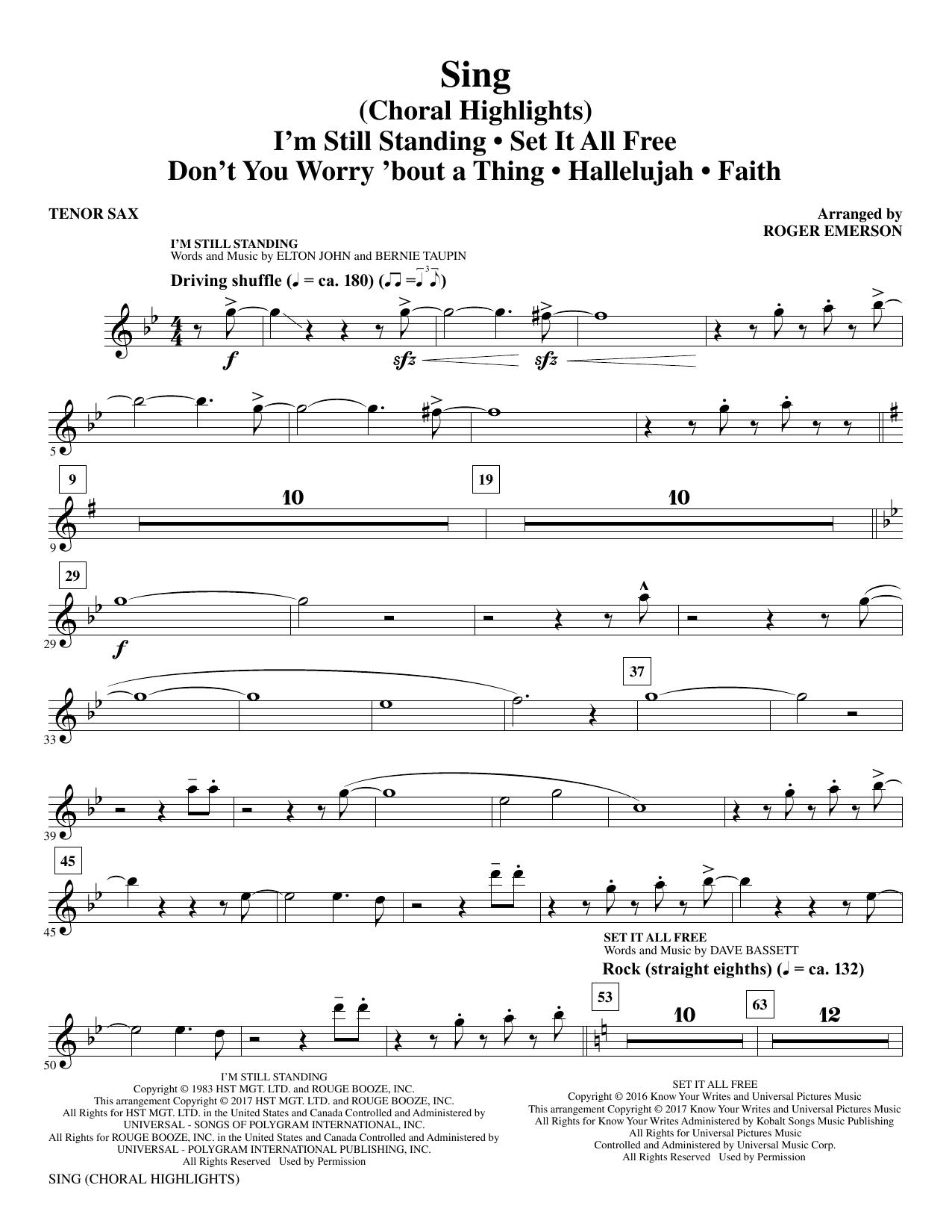 Sing (Choral Highlights) - Bb Tenor Saxophone (Choir Instrumental Pak)