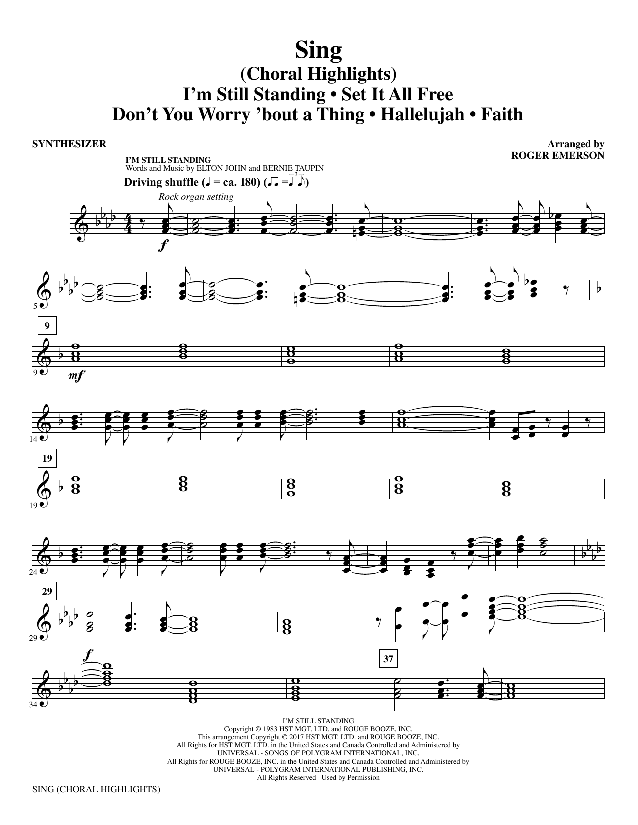 Sing (Choral Highlights) - Synthesizer (Choir Instrumental Pak)