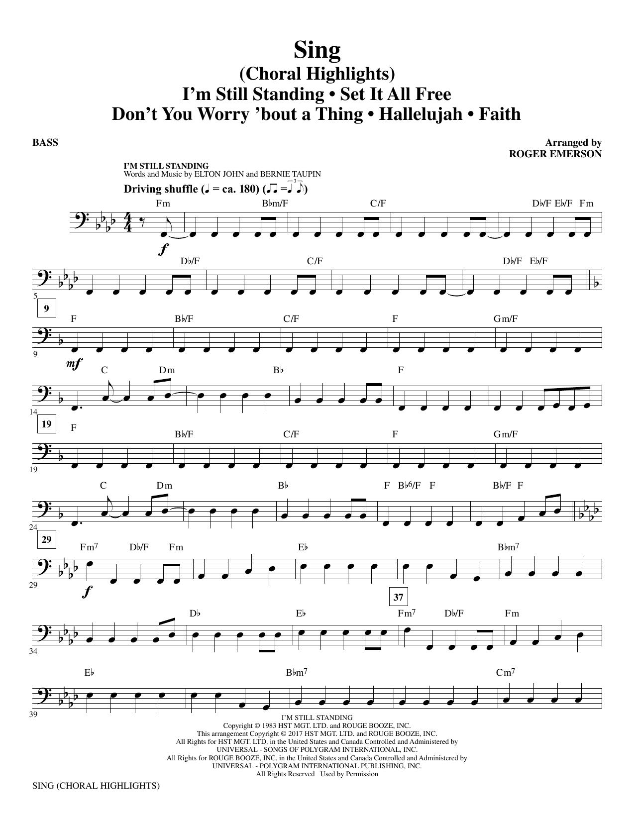 Sing (Choral Highlights) - Bass (Choir Instrumental Pak)
