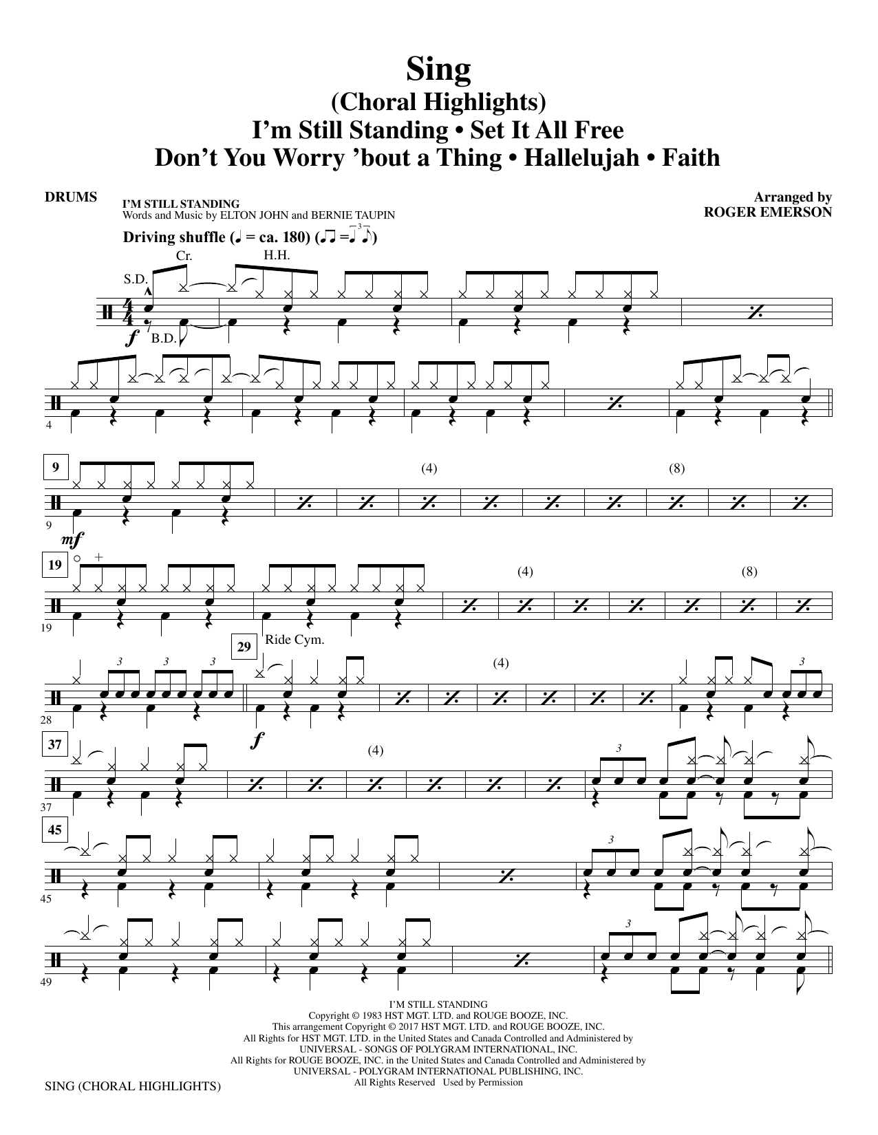 Sing (Choral Highlights) - Drums (Choir Instrumental Pak)