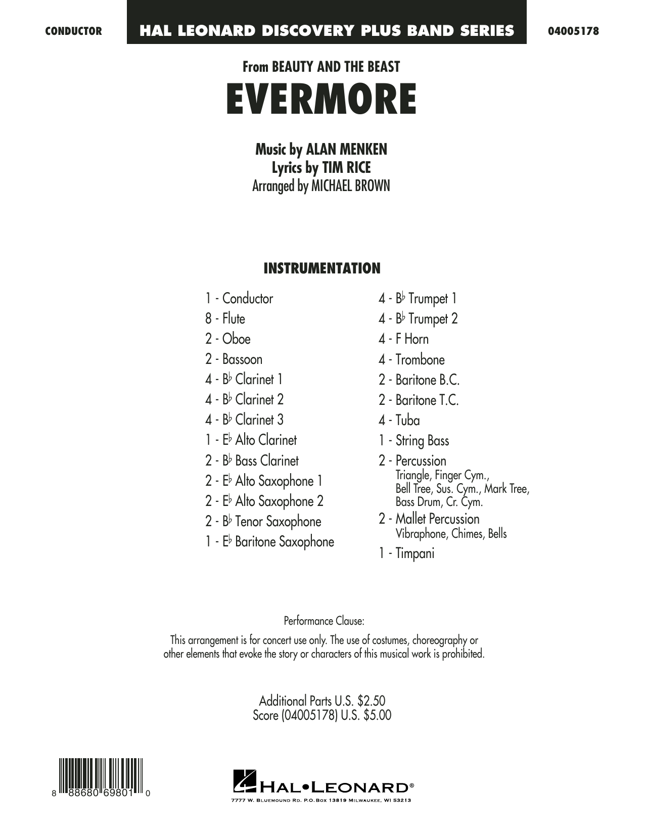 Evermore (from Beauty and the Beast) (COMPLETE) sheet music for concert band by Alan Menken, Michael Brown and Tim Rice. Score Image Preview.