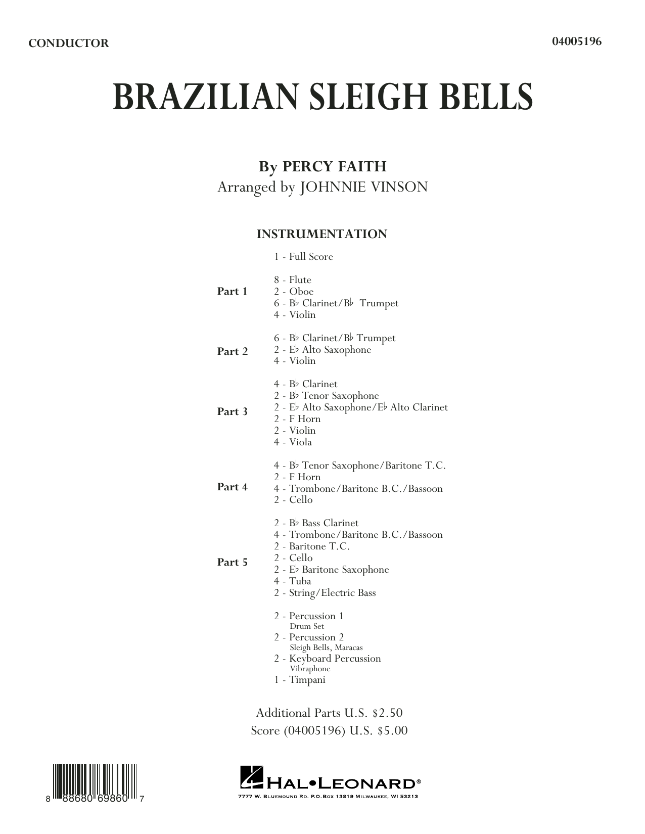Brazilian Sleigh Bells (COMPLETE) sheet music for concert band by Johnnie Vinson and Percy Faith. Score Image Preview.