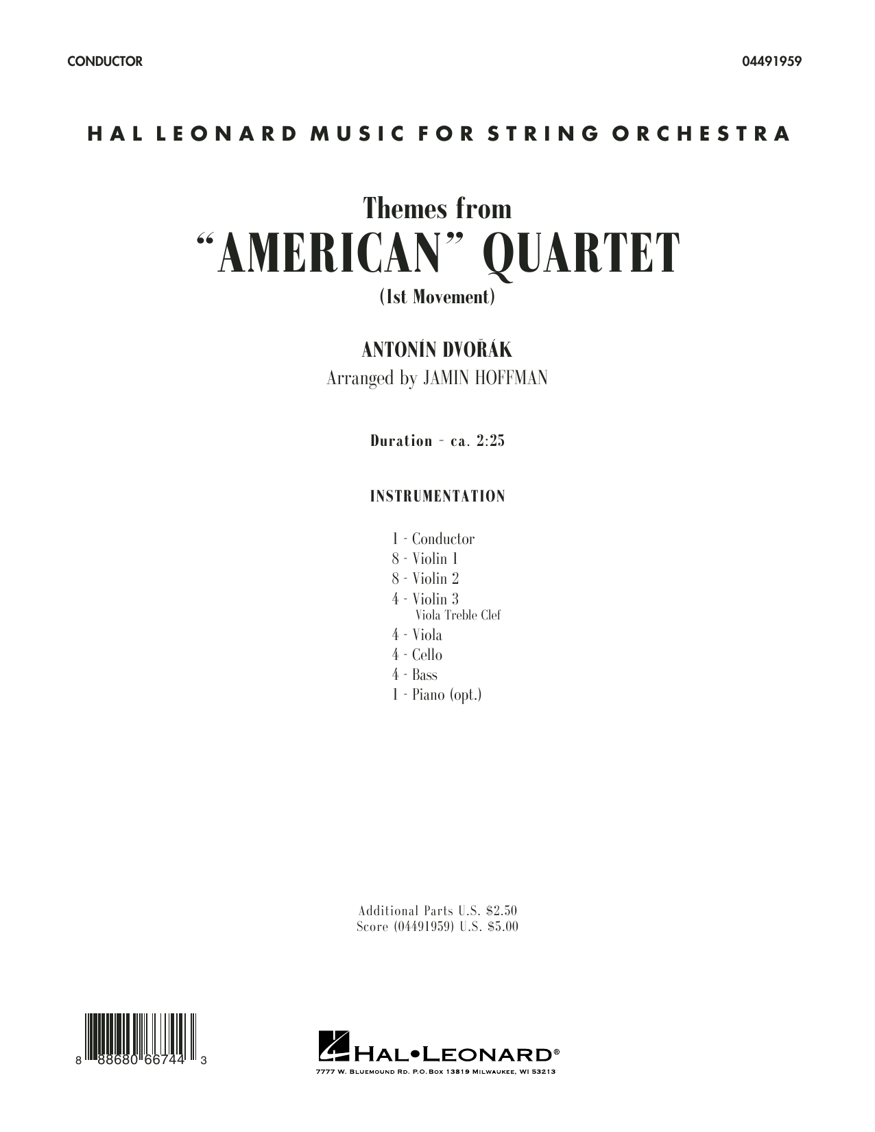 Themes from American Quartet, Movement 1 (COMPLETE) sheet music for orchestra by Antonin Dvorak and Jamin Hoffman. Score Image Preview.