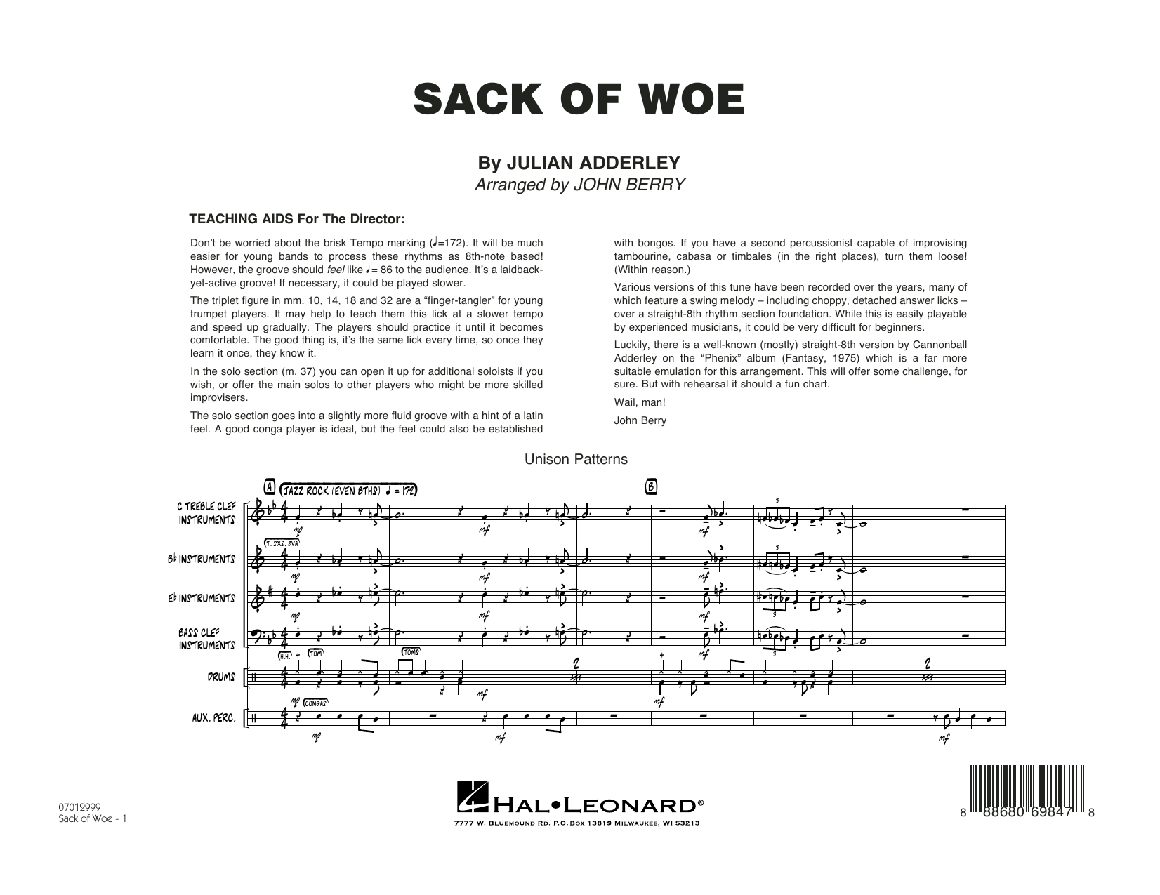Sack of Woe (COMPLETE) sheet music for jazz band by John Berry, George Benson and Julian Adderley. Score Image Preview.