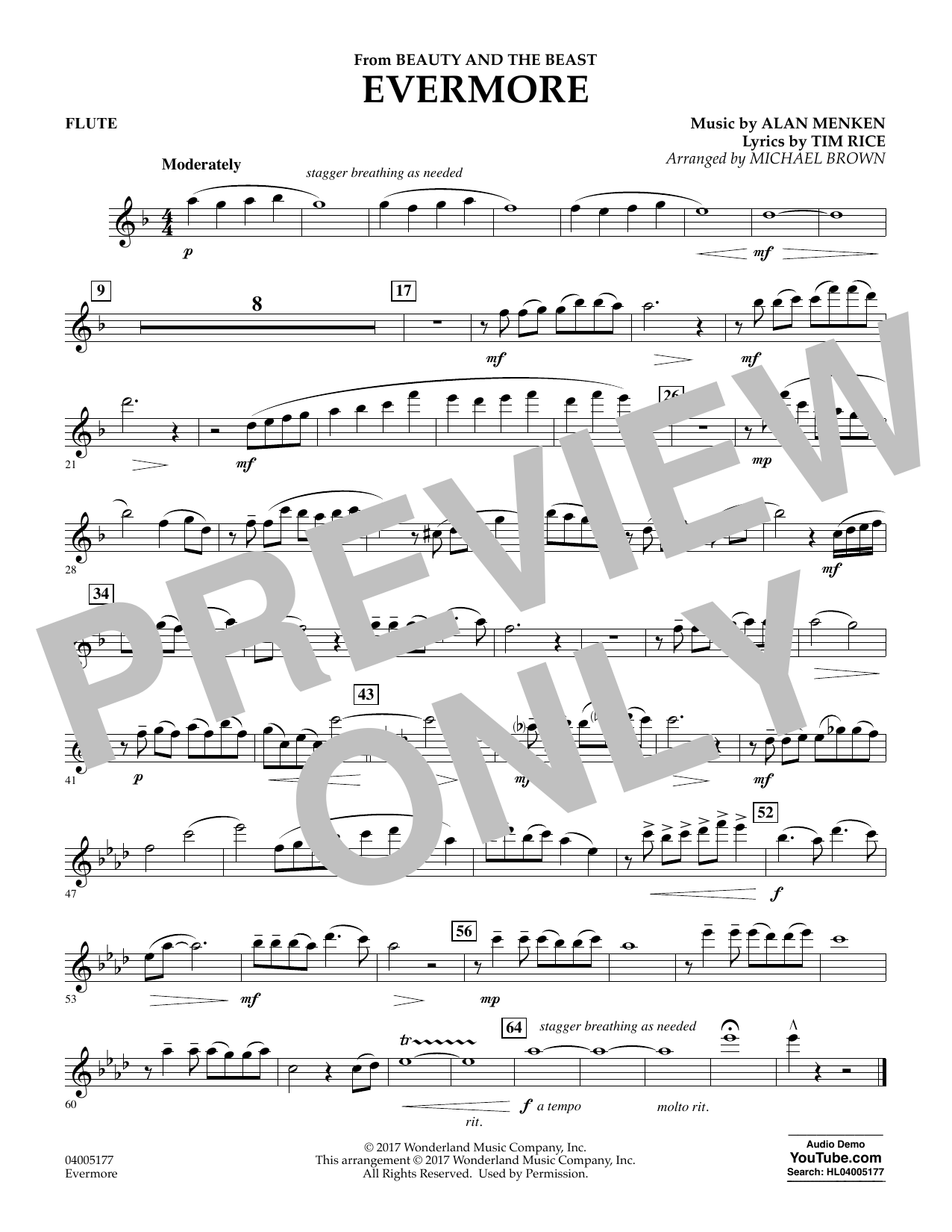 Evermore From Beauty And The Beast Flute By Michael Brown Concert Band Digital Sheet Music