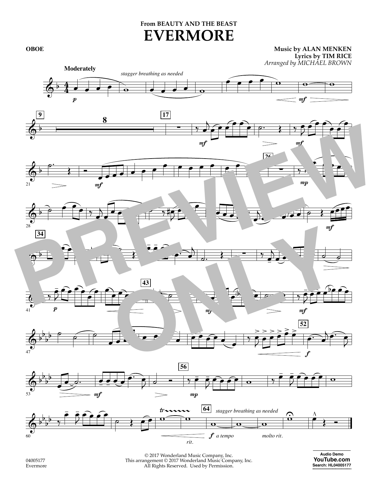 Evermore From Beauty And The Beast Oboe By Michael Brown Concert Band Digital Sheet Music