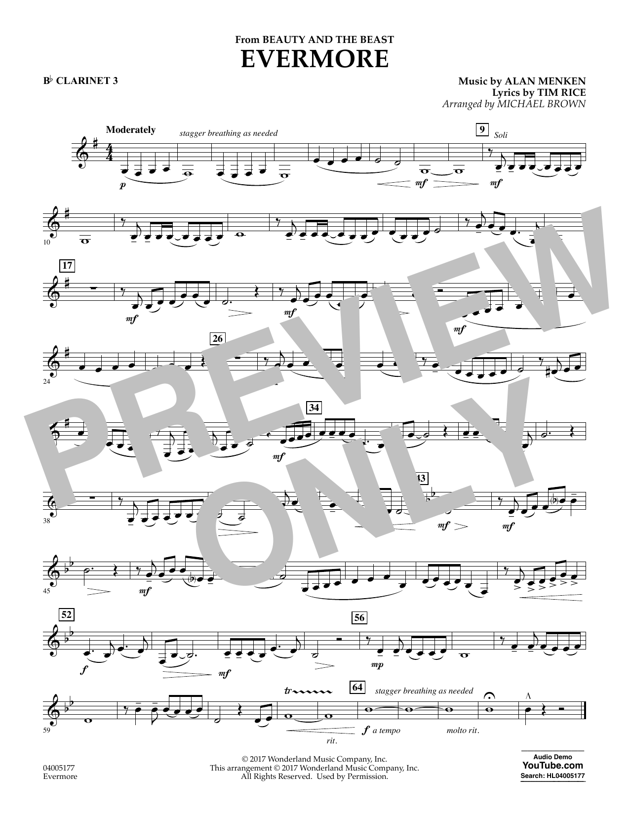 Evermore (from Beauty and the Beast) - Bb Clarinet 3 (Concert Band)