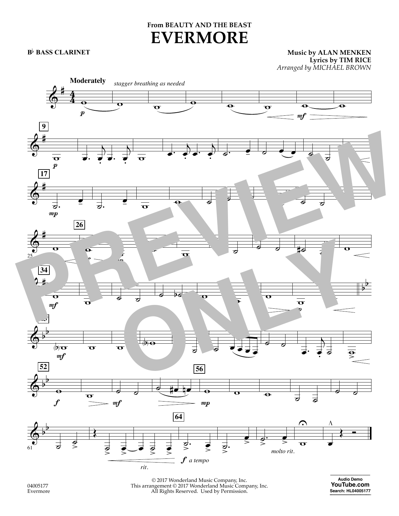 Evermore (from Beauty and the Beast) - Bb Bass Clarinet (Concert Band)