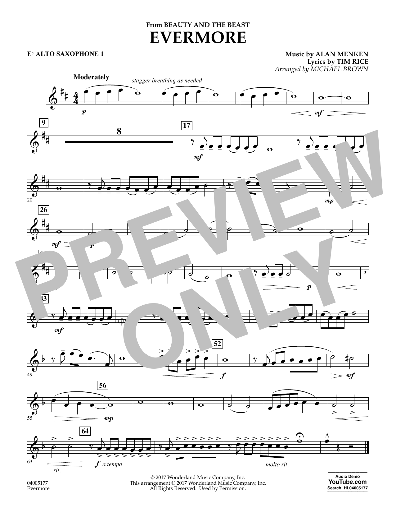 Evermore From Beauty And The Beast Eb Alto Saxophone 1 By Michael Brown Concert Band Digital Sheet Music