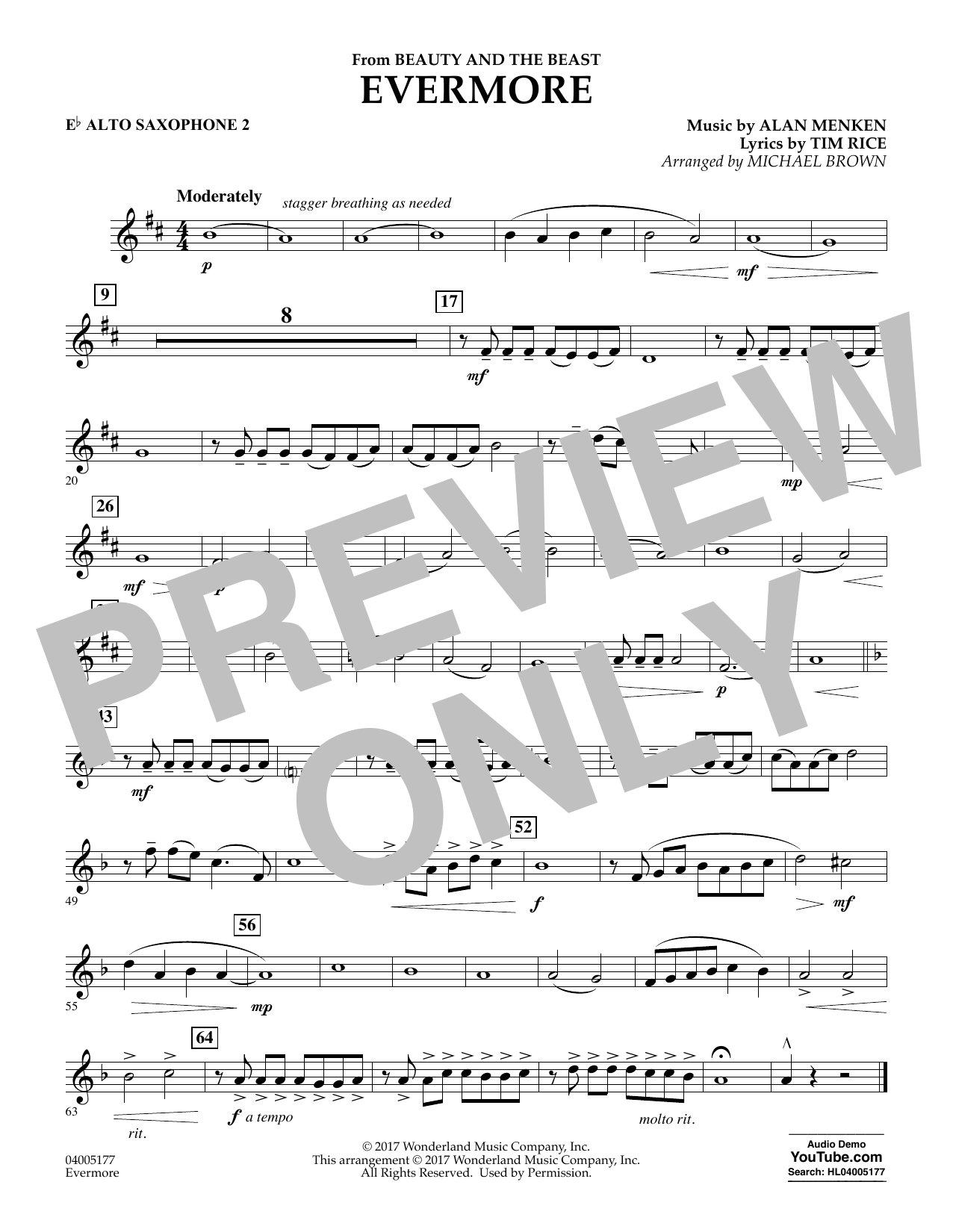 Evermore (from Beauty and the Beast) - Eb Alto Saxophone 2 (Concert Band)