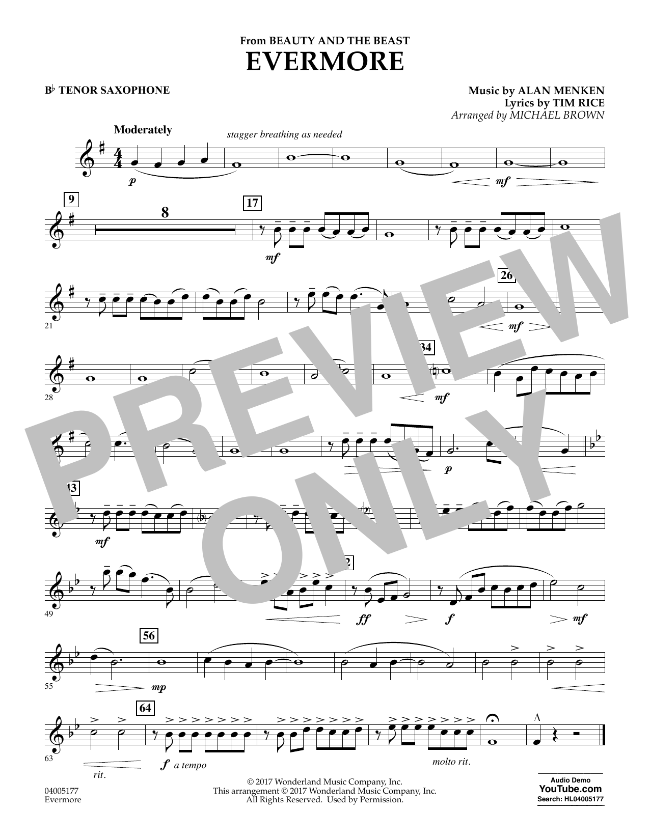 Evermore (from Beauty and the Beast) - Bb Tenor Saxophone (Concert Band)