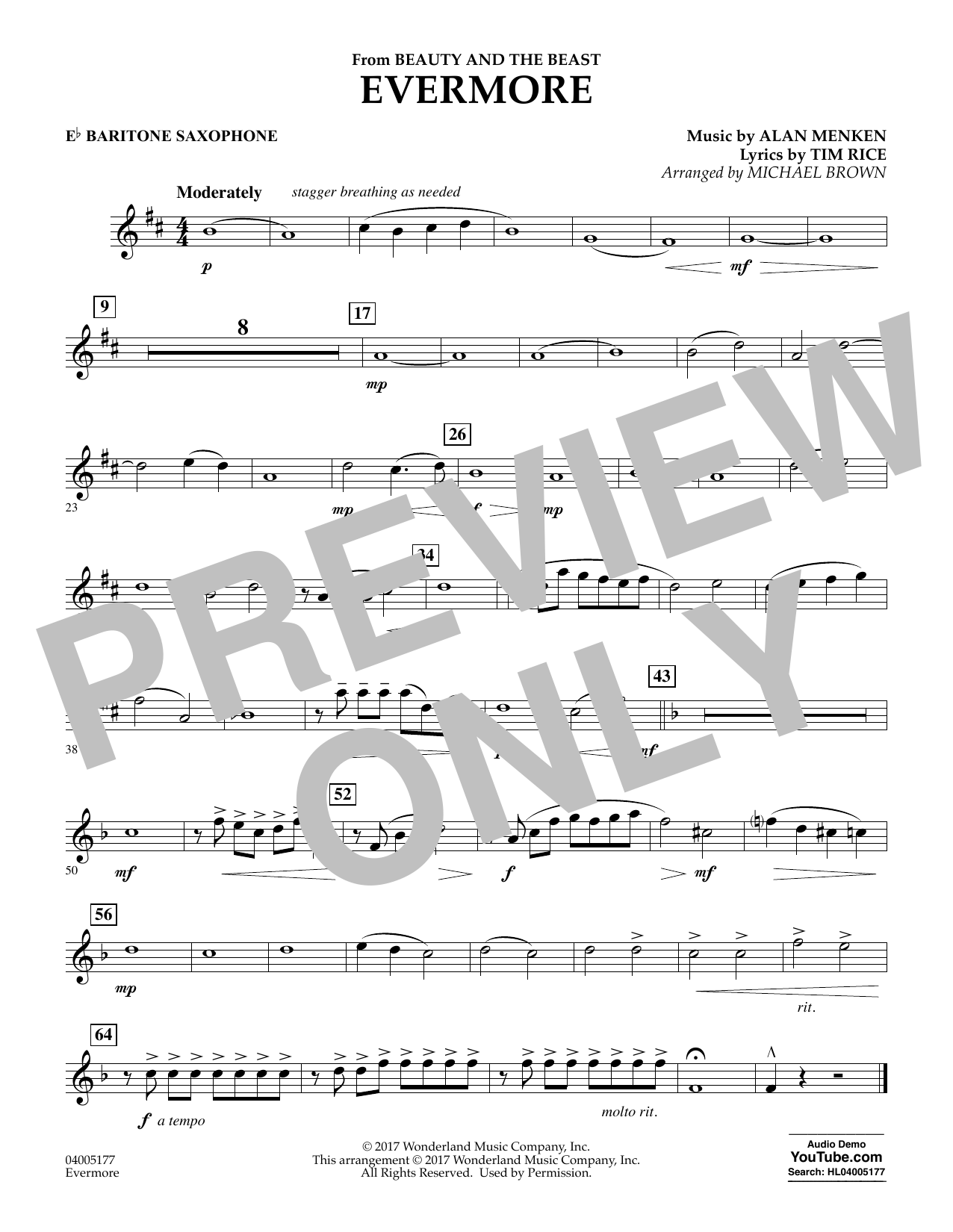 Evermore (from Beauty and the Beast) - Eb Baritone Saxophone (Concert Band)