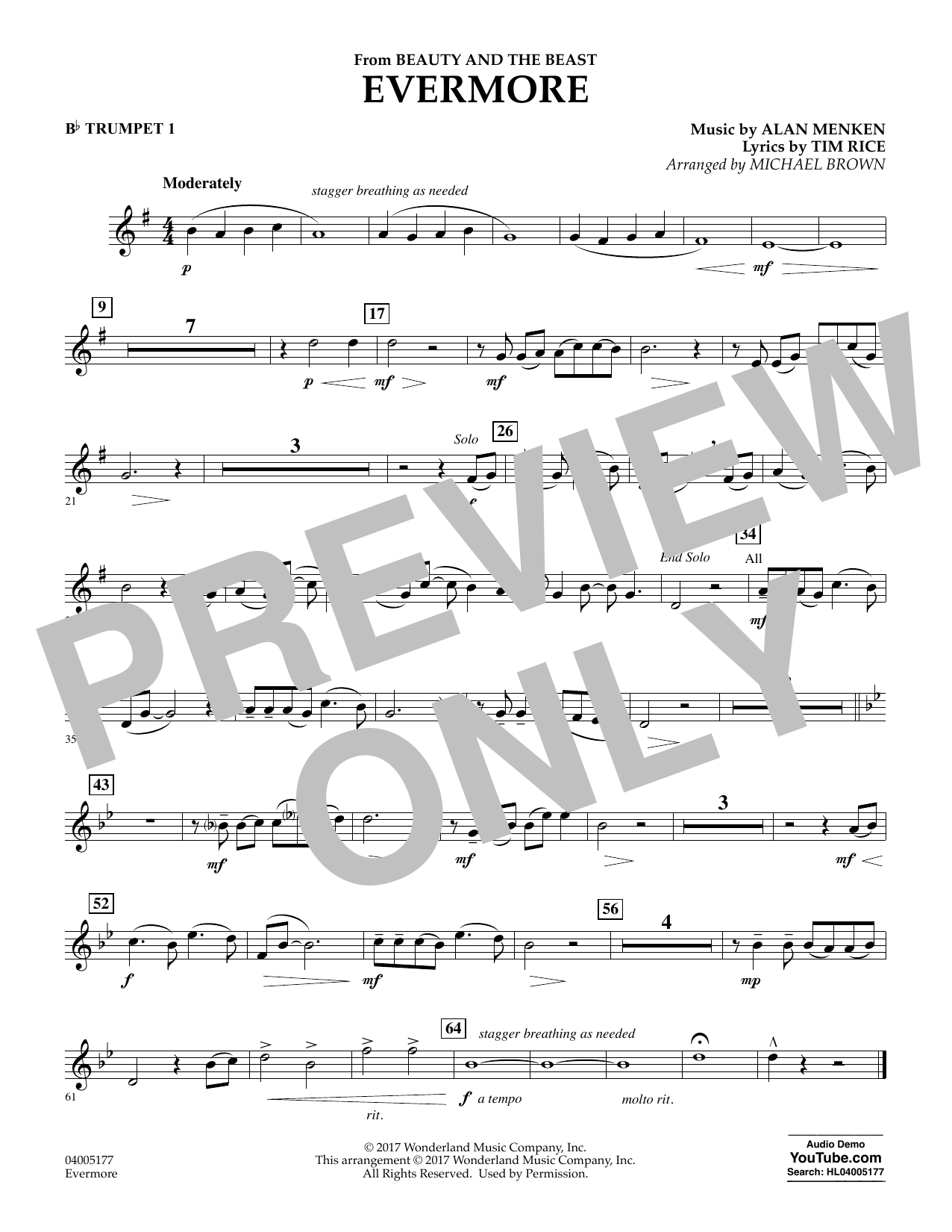Evermore (from Beauty and the Beast) - Bb Trumpet 1 (Concert Band)