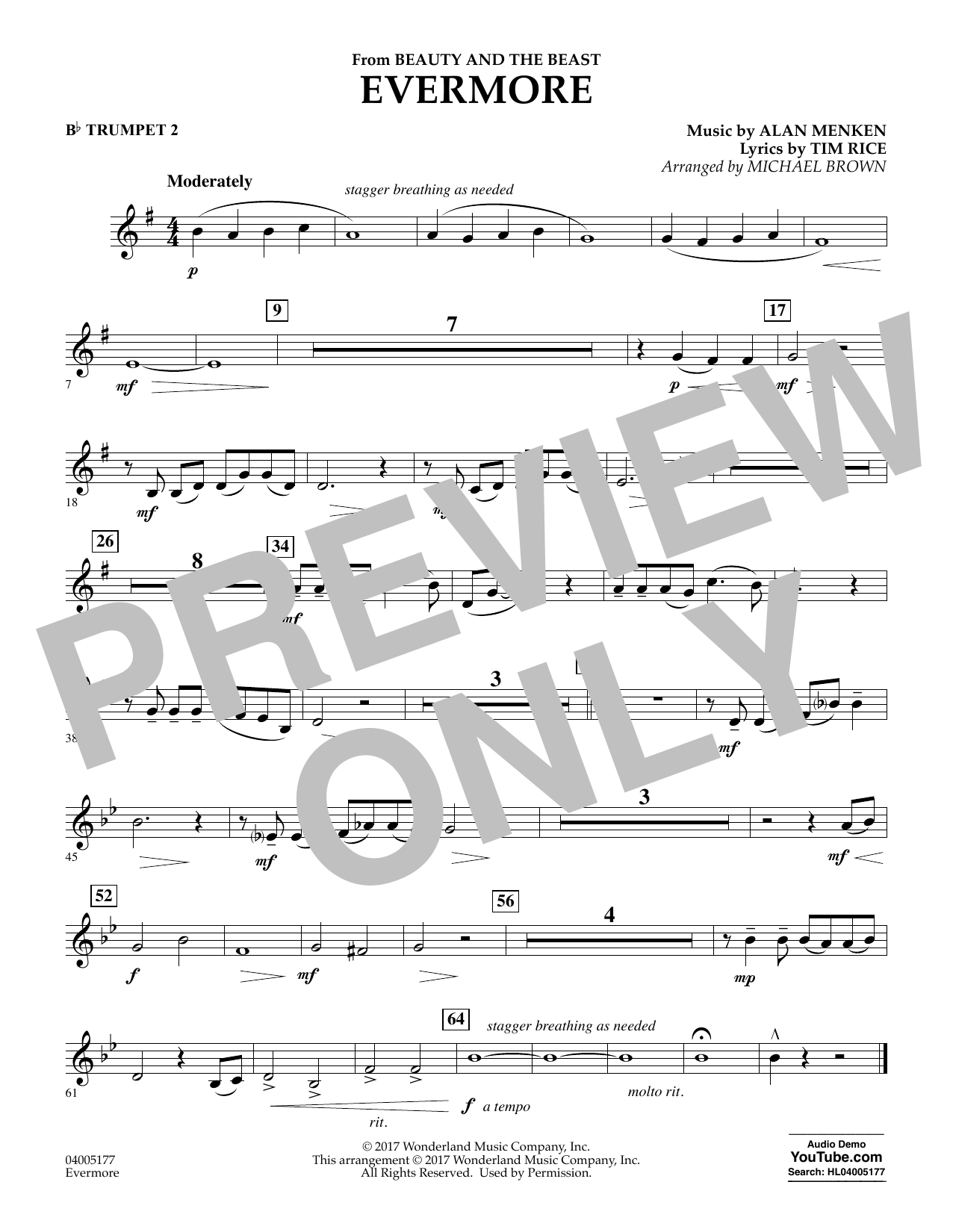 Evermore (from Beauty and the Beast) - Bb Trumpet 2 (Concert Band)