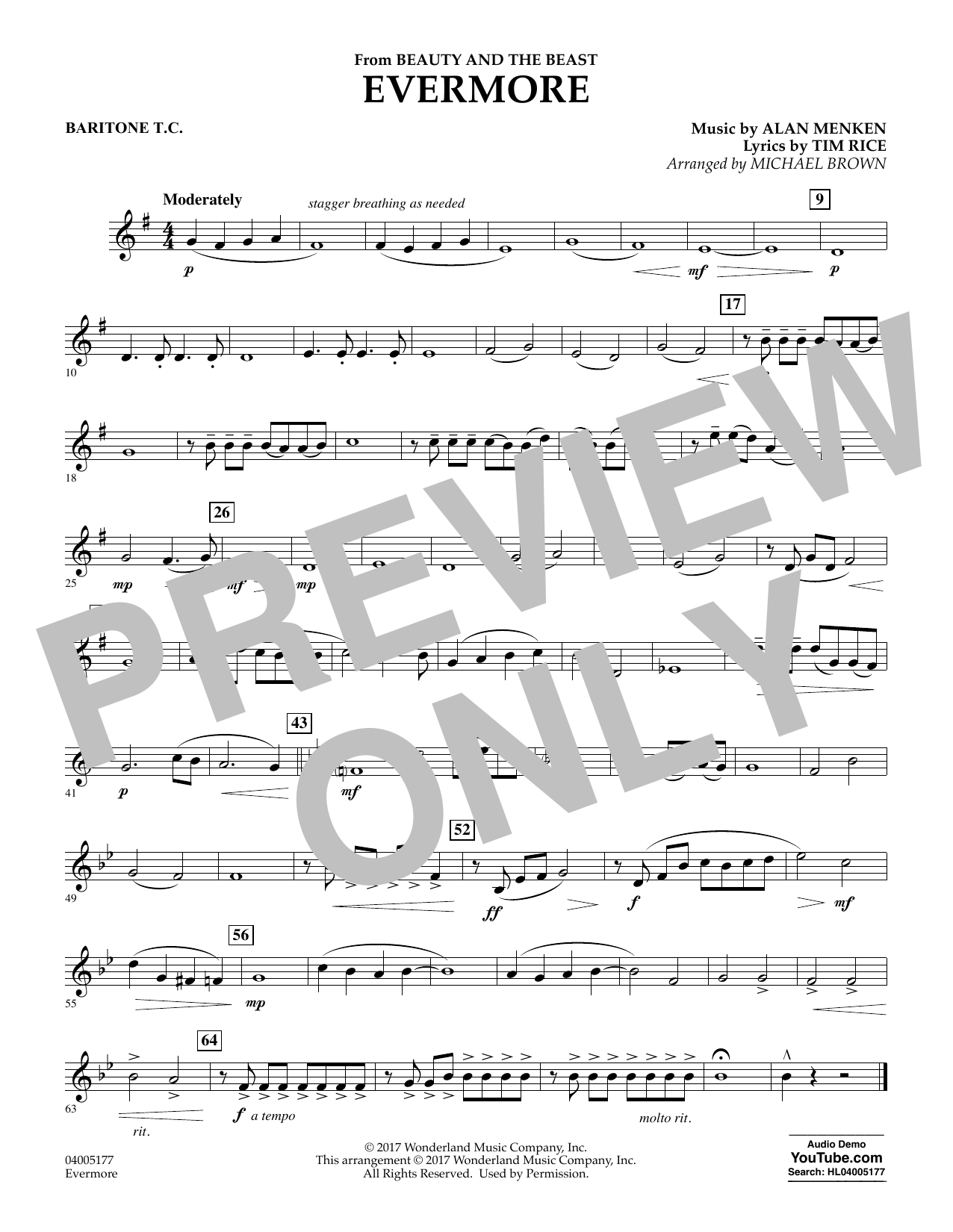 Evermore (from Beauty and the Beast) - Baritone T.C. (Concert Band)