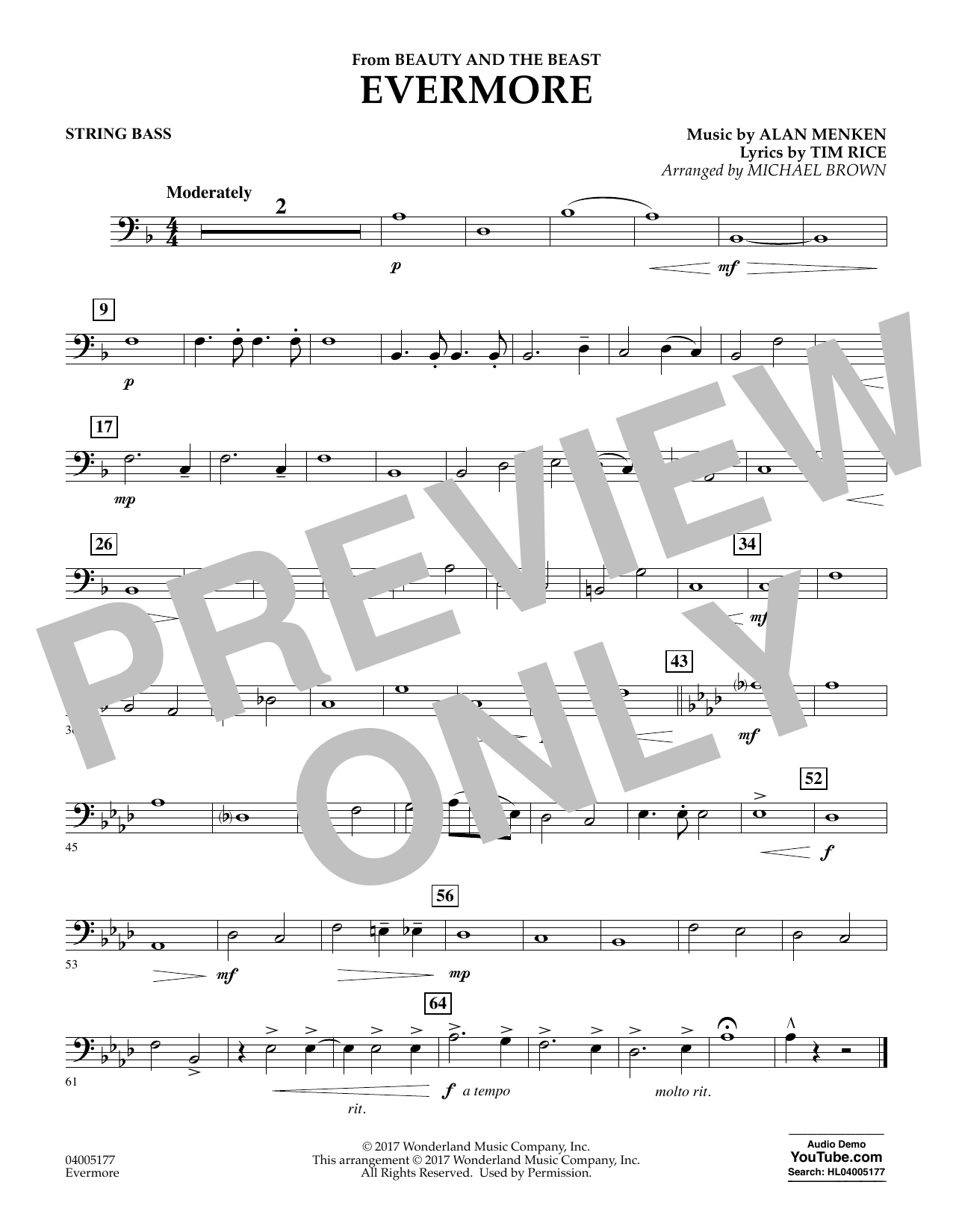 Evermore (from Beauty and the Beast) - Bass (Concert Band)