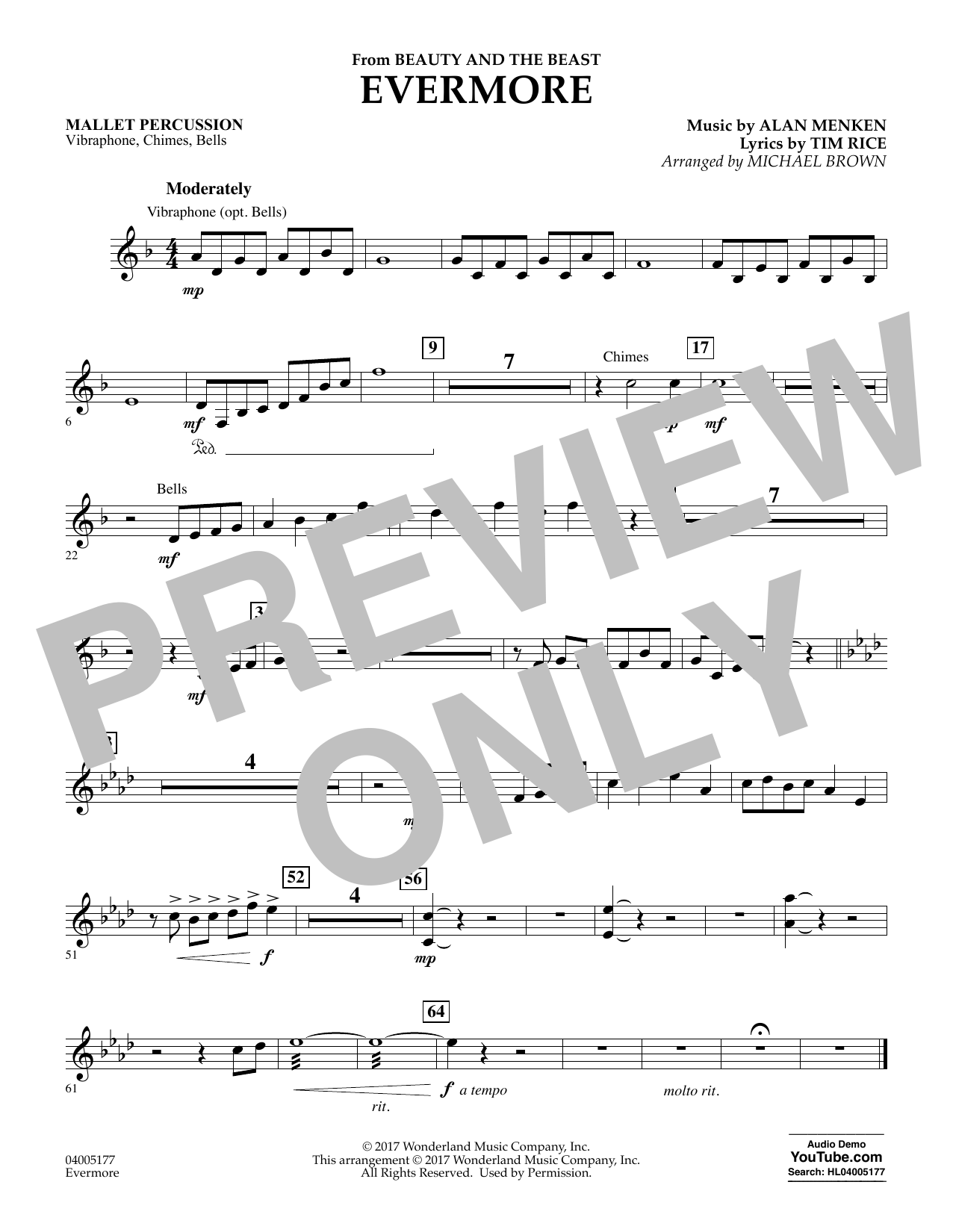 Evermore (from Beauty and the Beast) - Mallet Percussion (Concert Band)