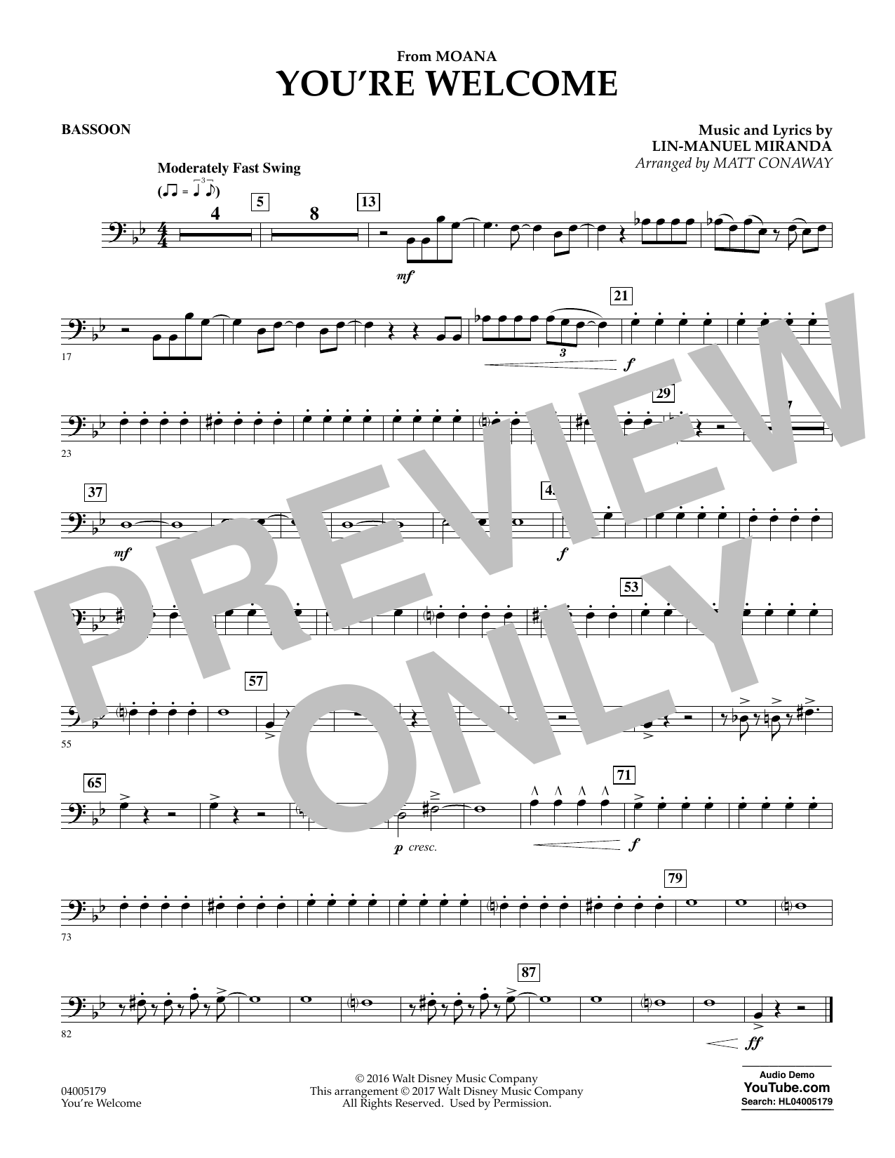 You're Welcome (from Moana) - Bassoon (Concert Band)