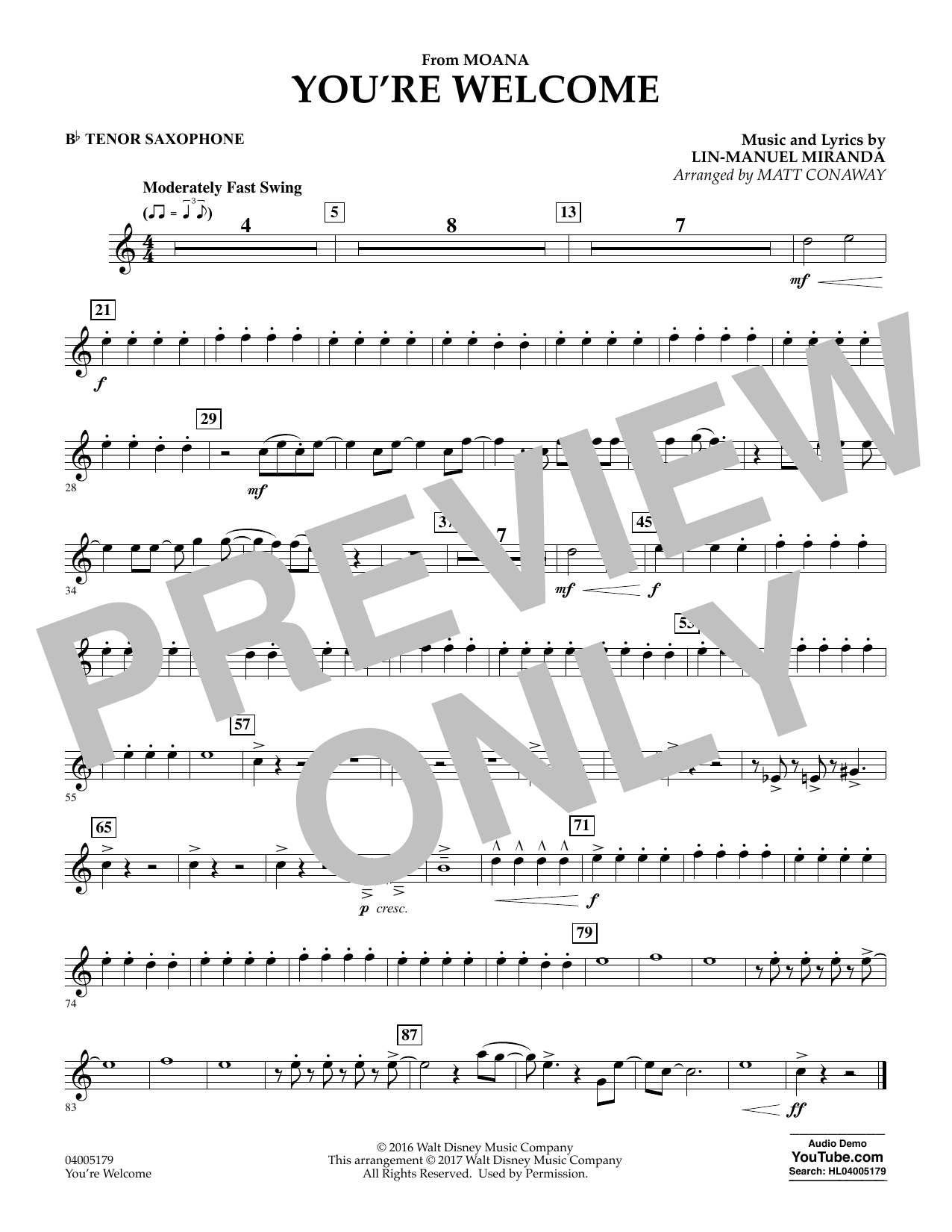 You're Welcome (from Moana) - Bb Tenor Saxophone (Concert Band)