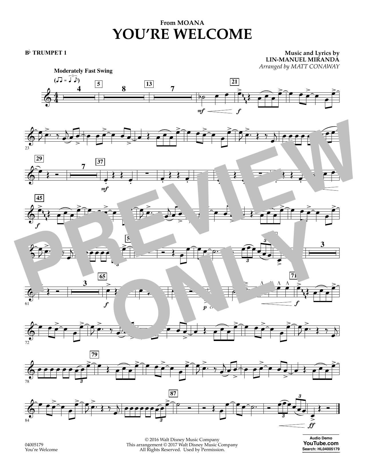 You're Welcome (from Moana) - Bb Trumpet 1 (Concert Band)