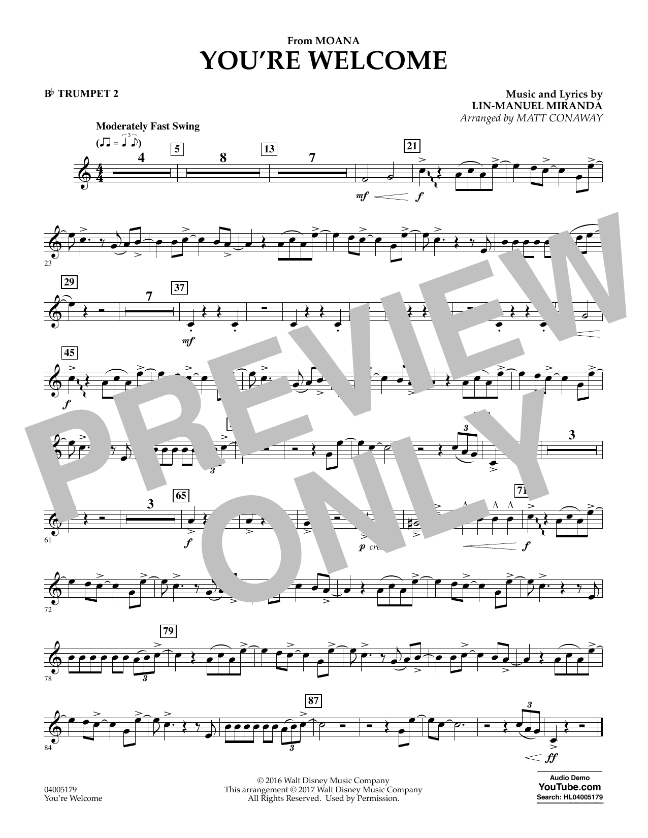 You're Welcome (from Moana) - Bb Trumpet 2 (Concert Band)