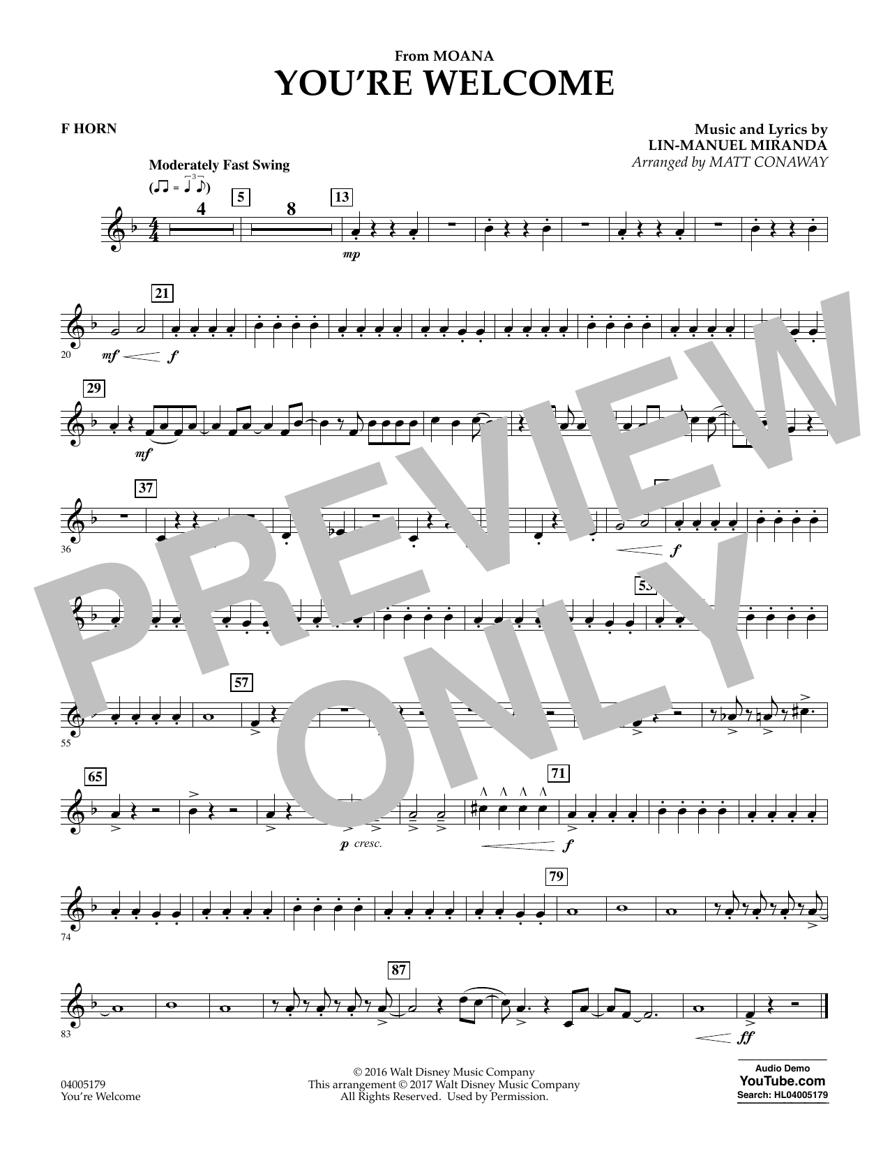 You're Welcome (from Moana) - F Horn (Concert Band)