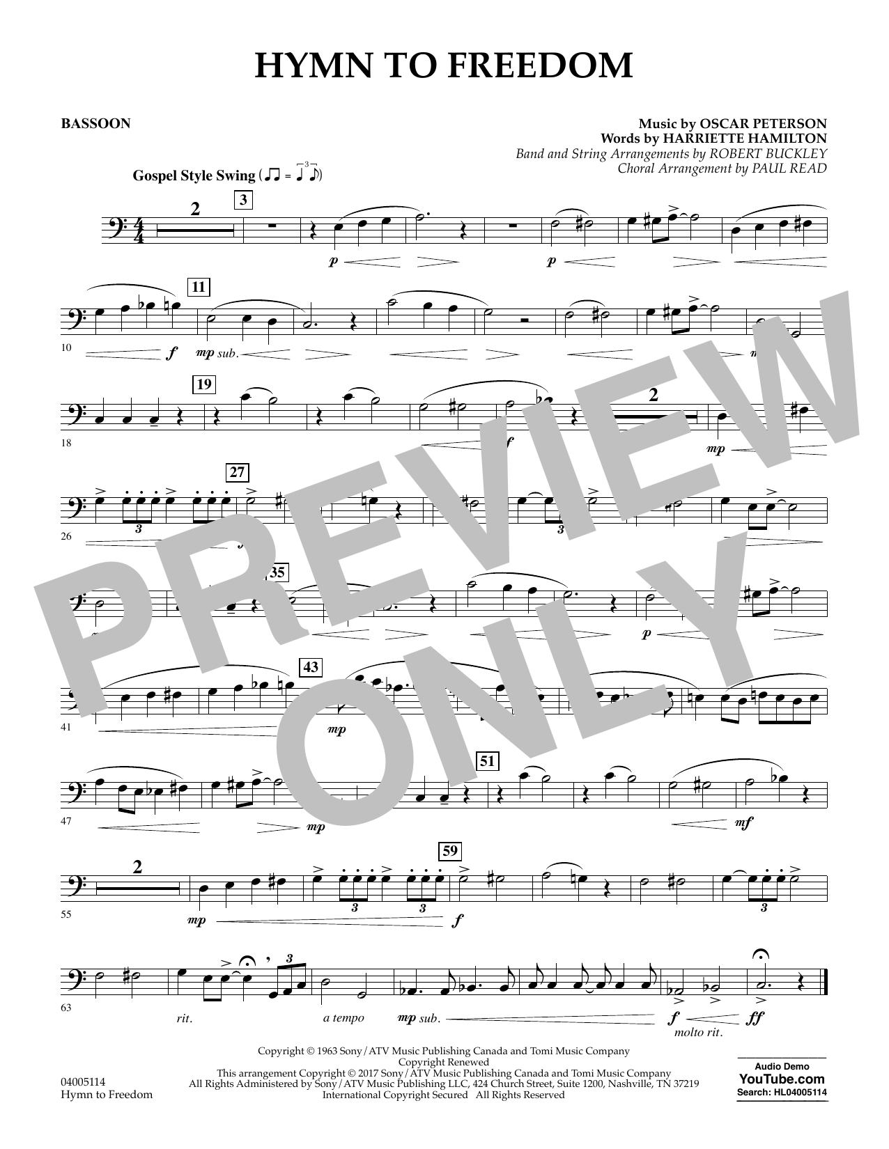Hymn to Freedom - Bassoon Sheet Music