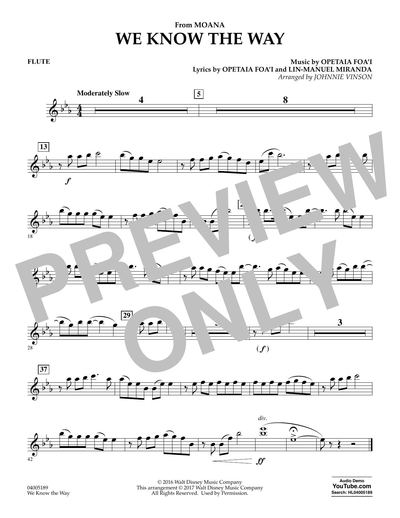 We Know the Way (from Moana) - Flute (Concert Band)