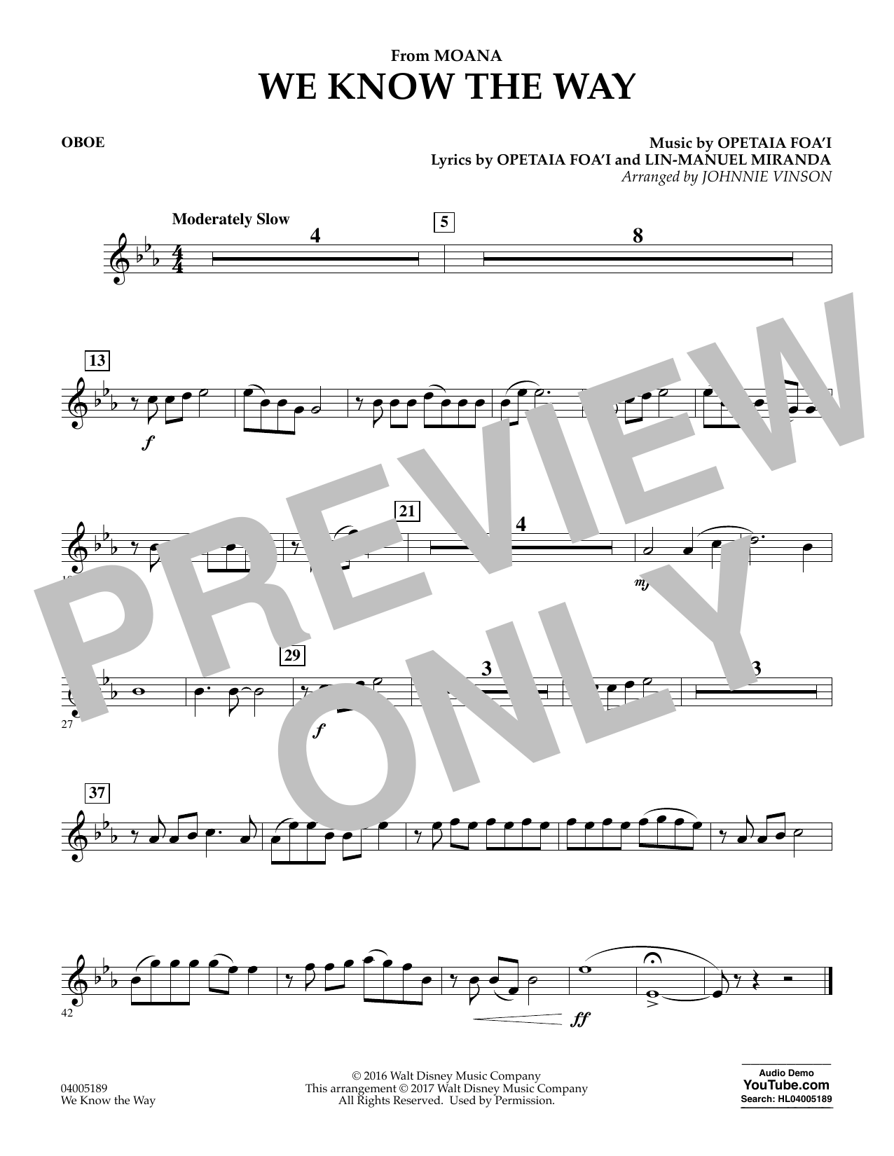 We Know the Way (from Moana) - Oboe (Concert Band)