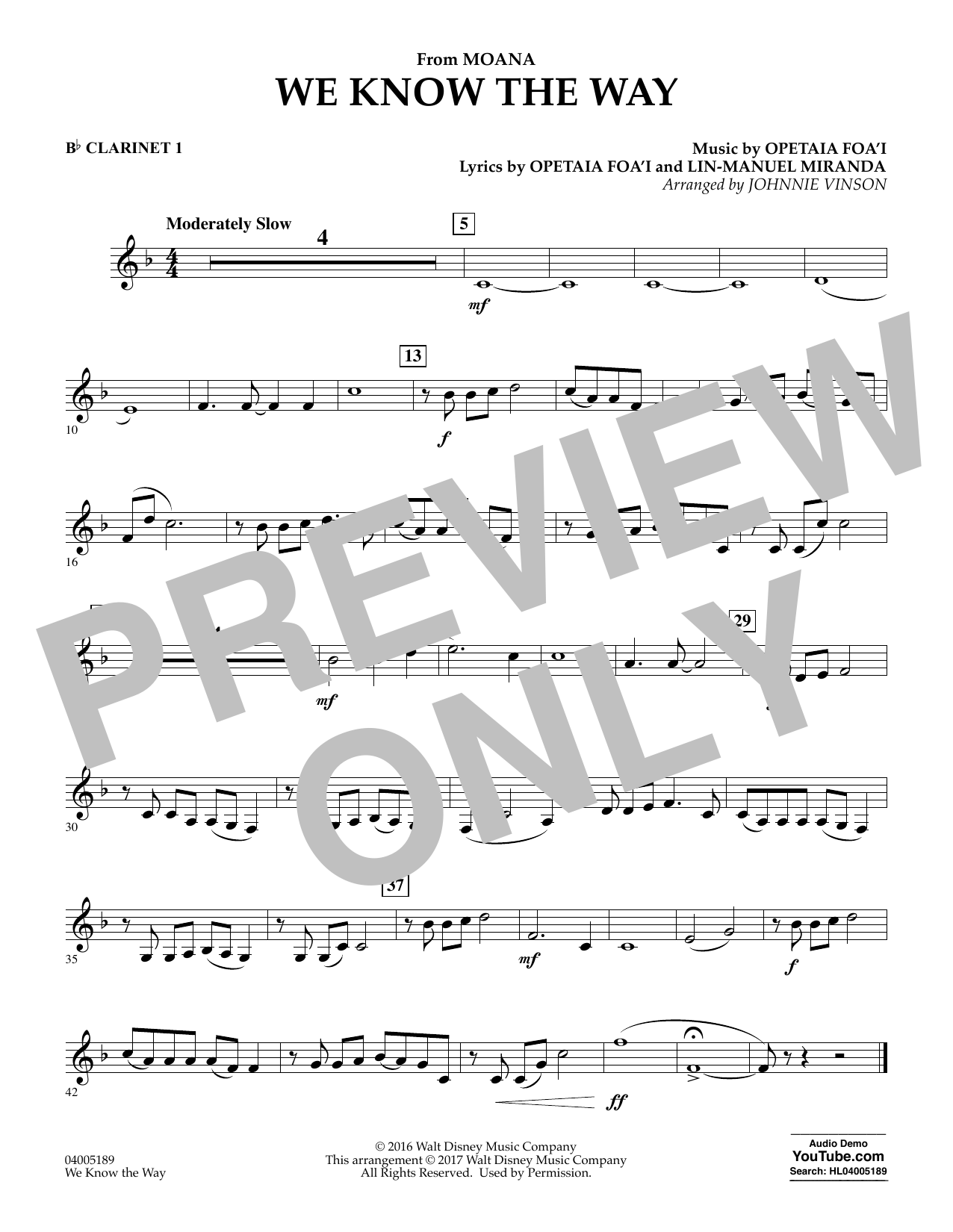 We Know the Way (from Moana) - Bb Clarinet 1 (Concert Band)