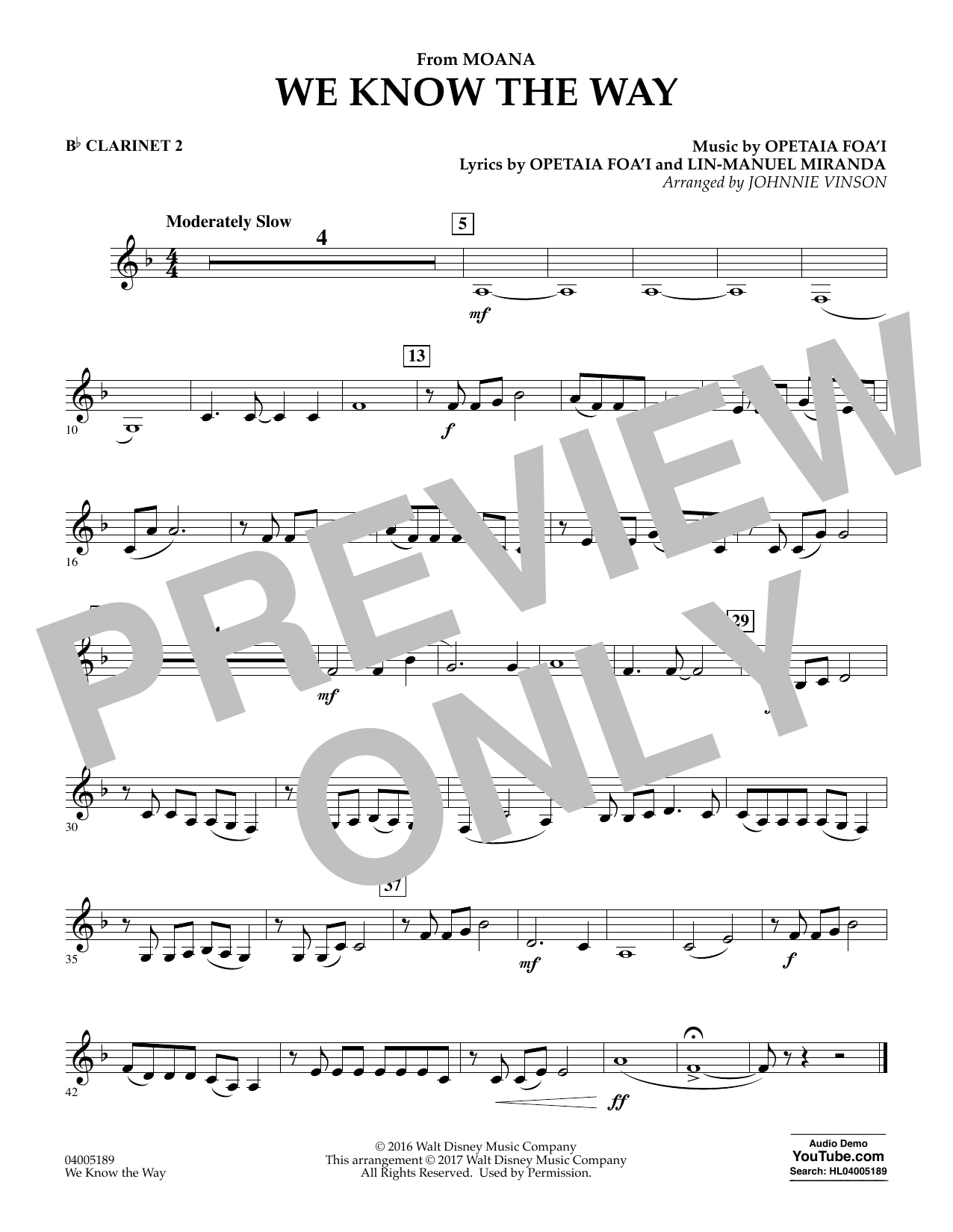 We Know the Way (from Moana) - Bb Clarinet 2 (Concert Band)