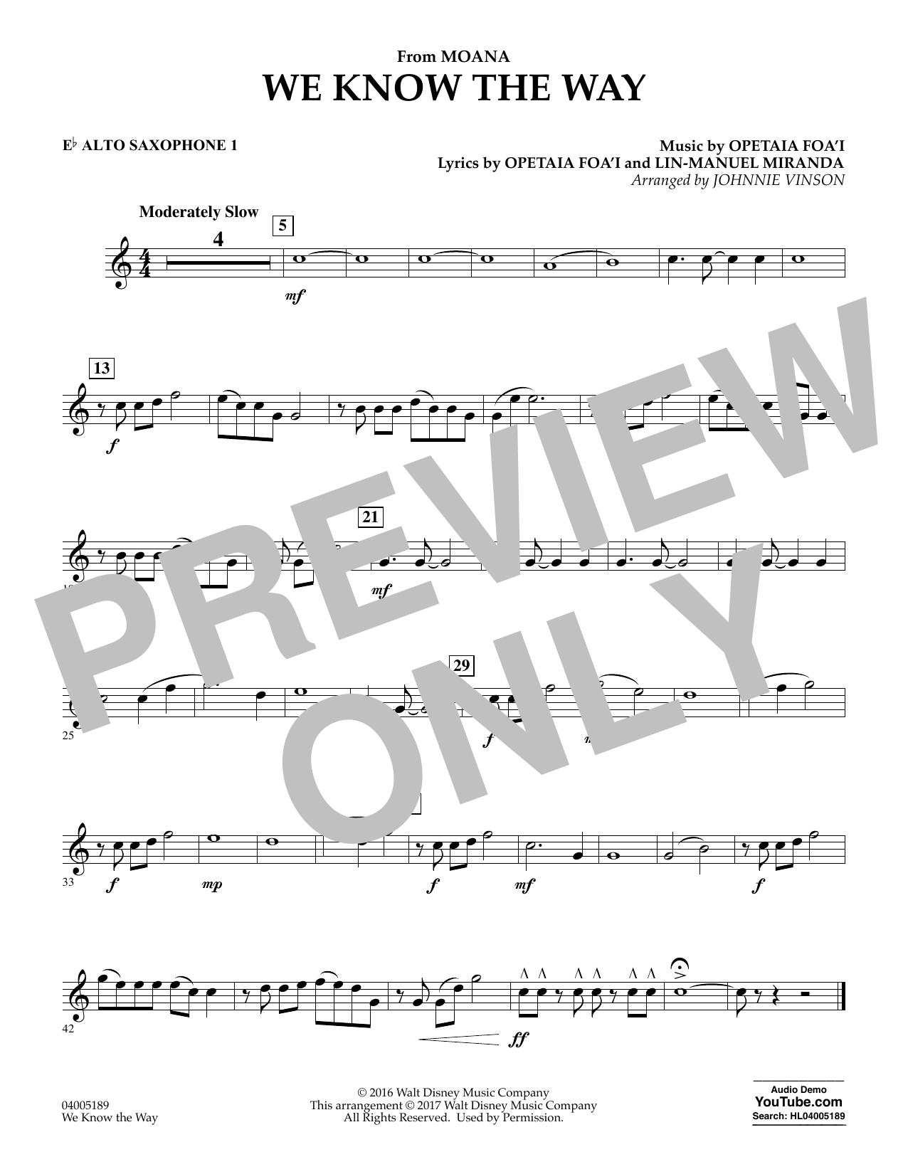 We Know the Way (from Moana) - Eb Alto Saxophone 1 (Concert Band)