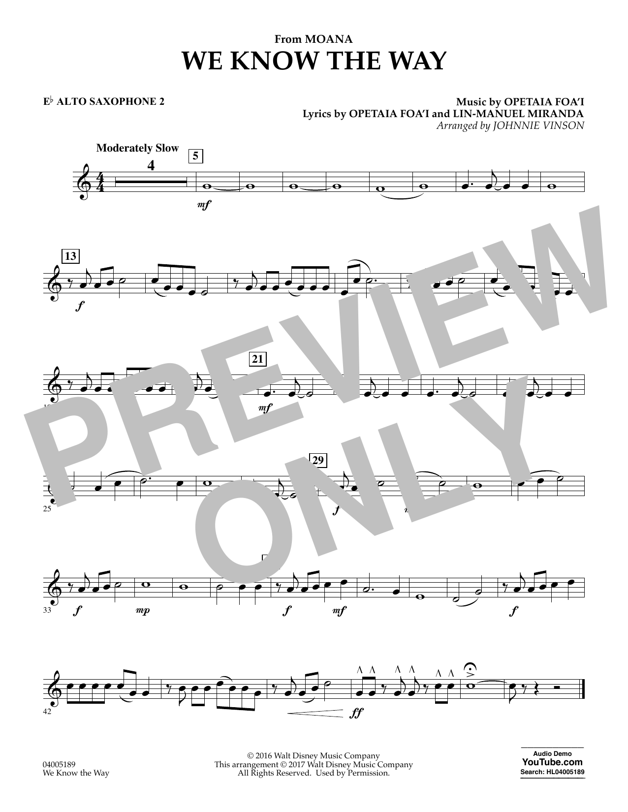 We Know the Way (from Moana) - Eb Alto Saxophone 2 (Concert Band)