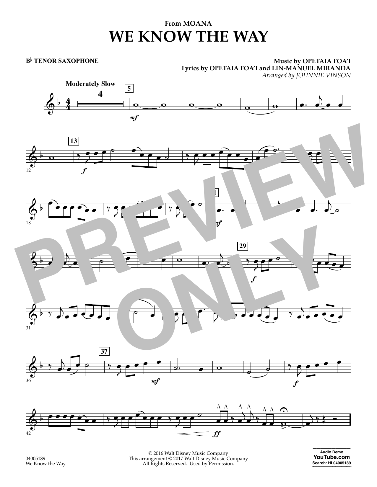 We Know the Way (from Moana) - Bb Tenor Saxophone (Concert Band)