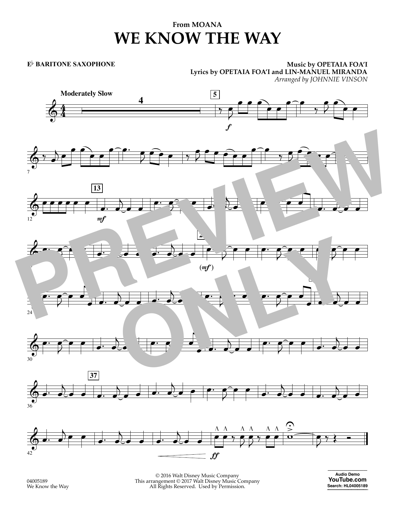We Know the Way (from Moana) - Eb Baritone Saxophone (Concert Band)