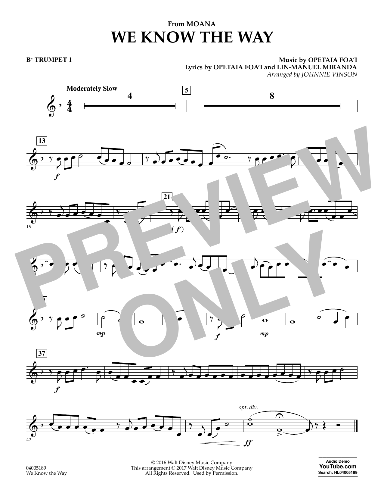 We Know the Way (from Moana) - Bb Trumpet 1 (Concert Band)