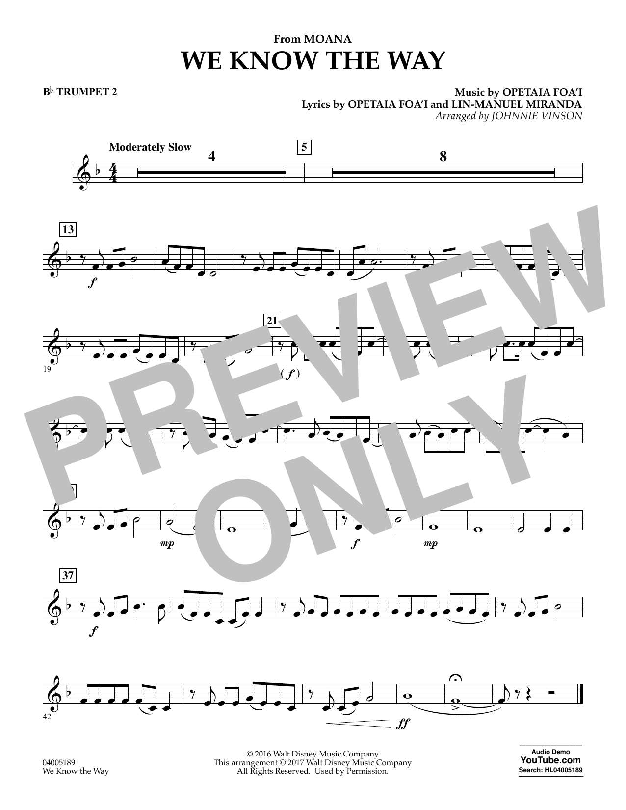 We Know the Way (from Moana) - Bb Trumpet 2 (Concert Band)