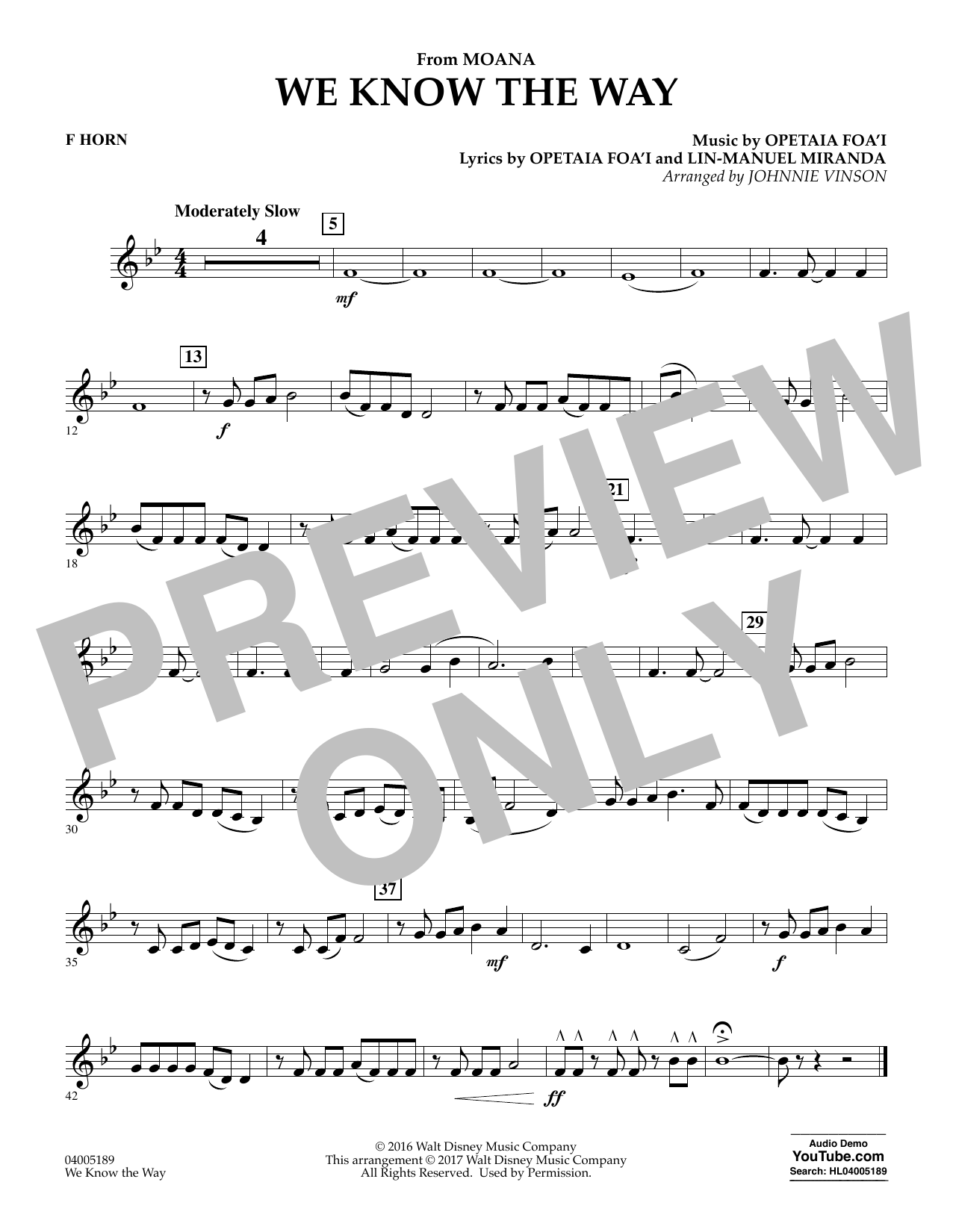 We Know the Way (from Moana) - F Horn (Concert Band)