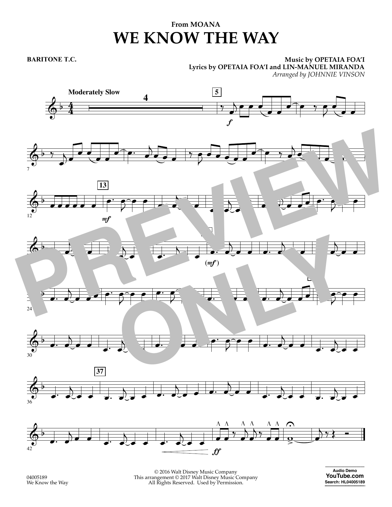 We Know the Way (from Moana) - Baritone T.C. (Concert Band)