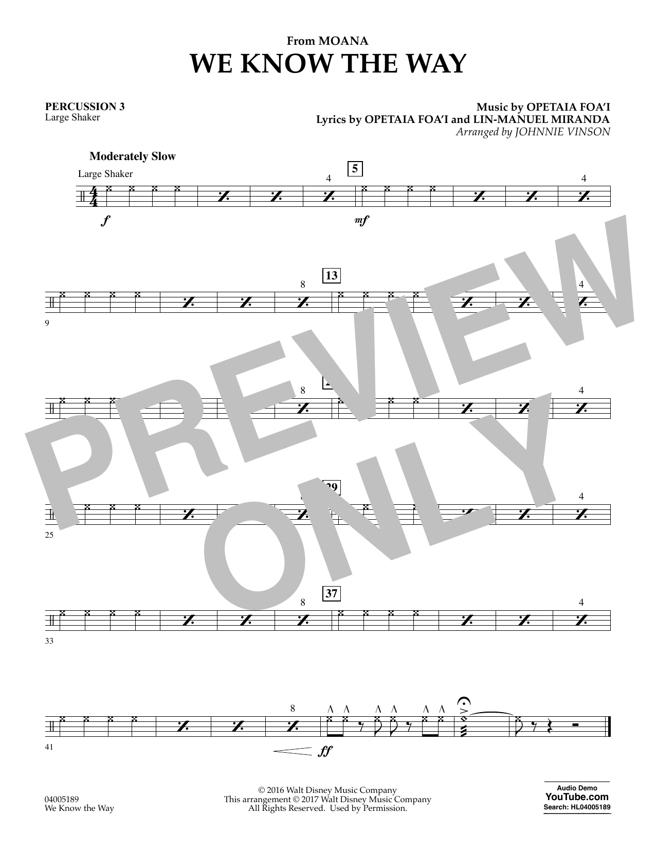 We Know the Way (from Moana) - Percussion 3 (Concert Band)