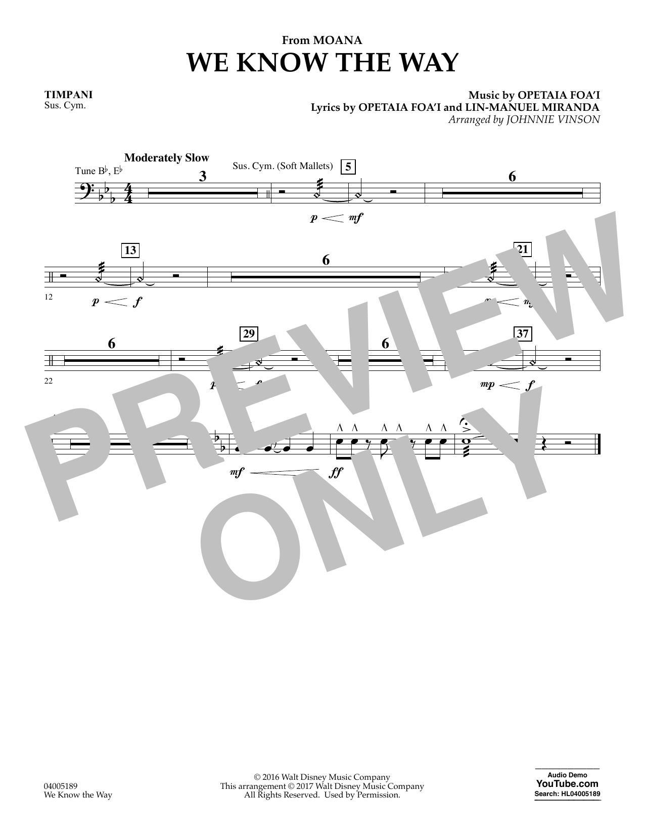 We Know the Way (from Moana) - Timpani (Concert Band)