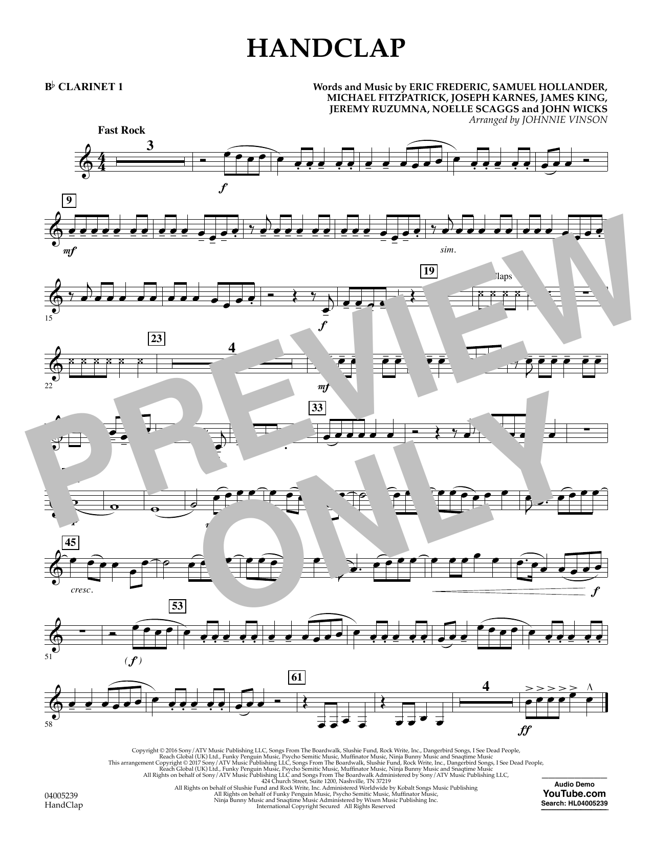 HandClap - Bb Clarinet 1 (Concert Band)