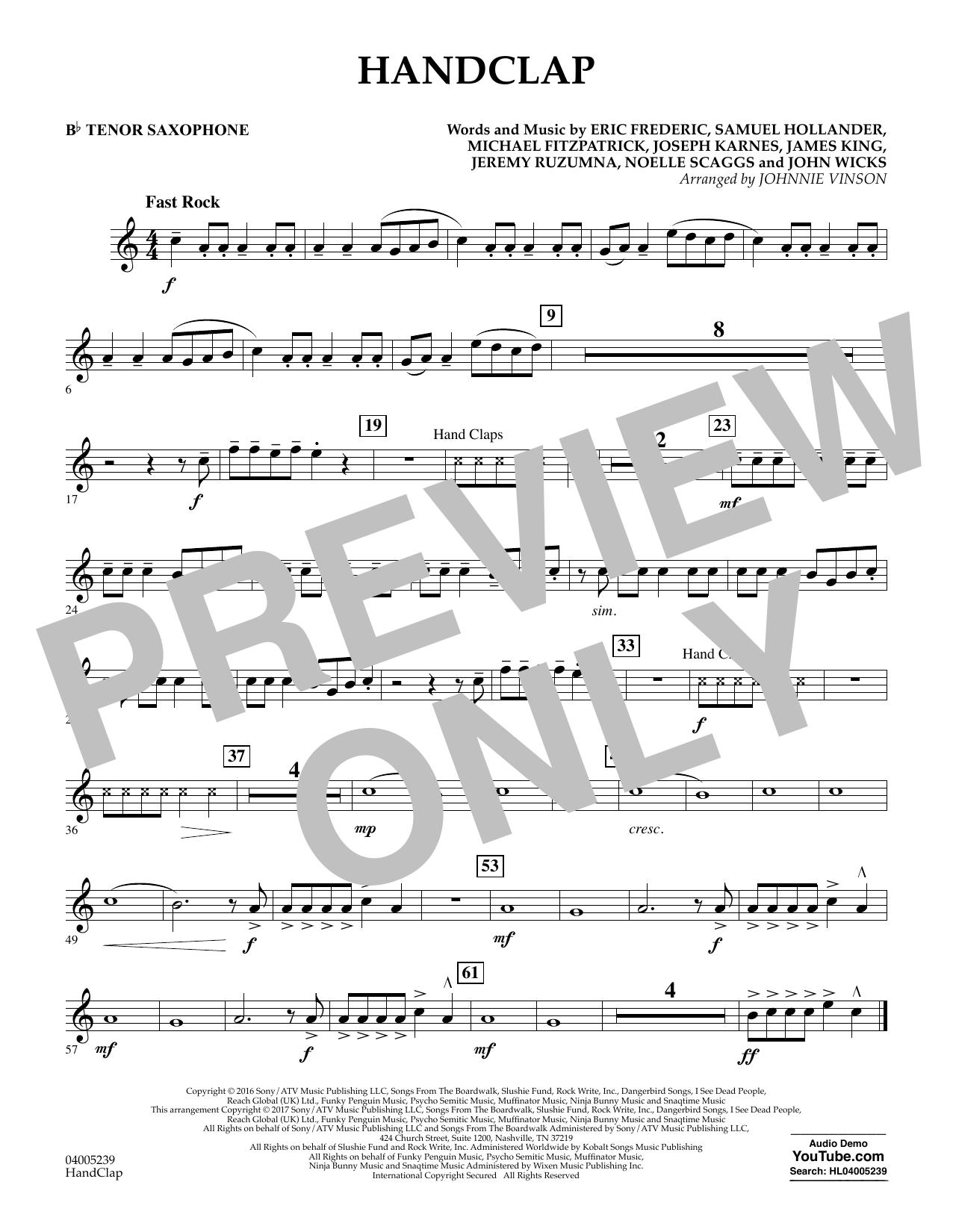 HandClap - Bb Tenor Saxophone (Concert Band)
