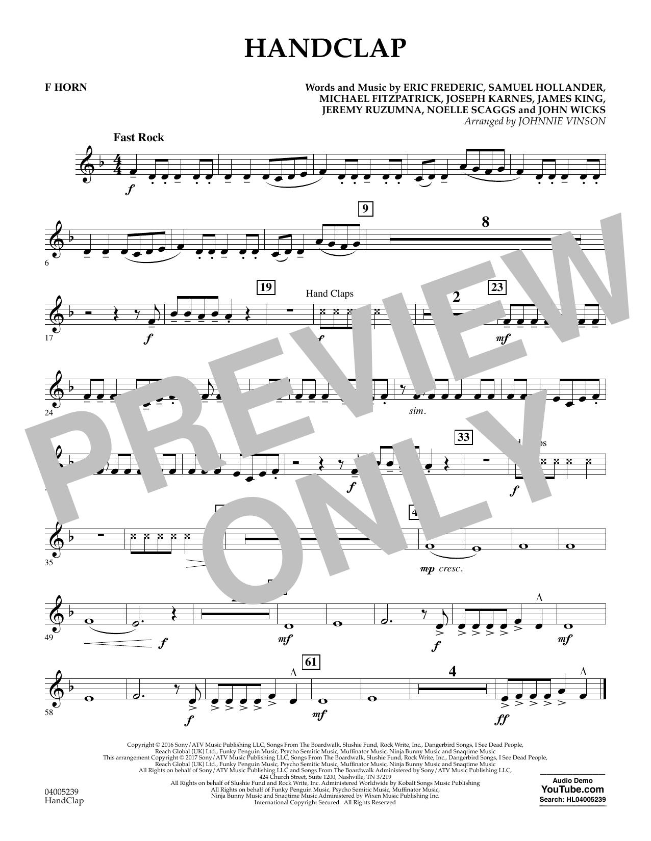 HandClap - F Horn (Concert Band)