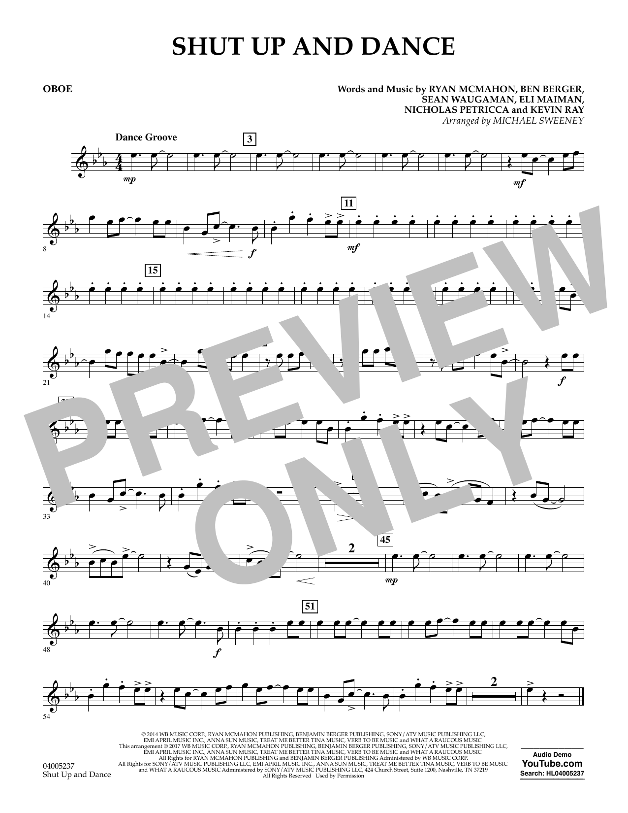 Shut Up and Dance - Oboe (Concert Band)