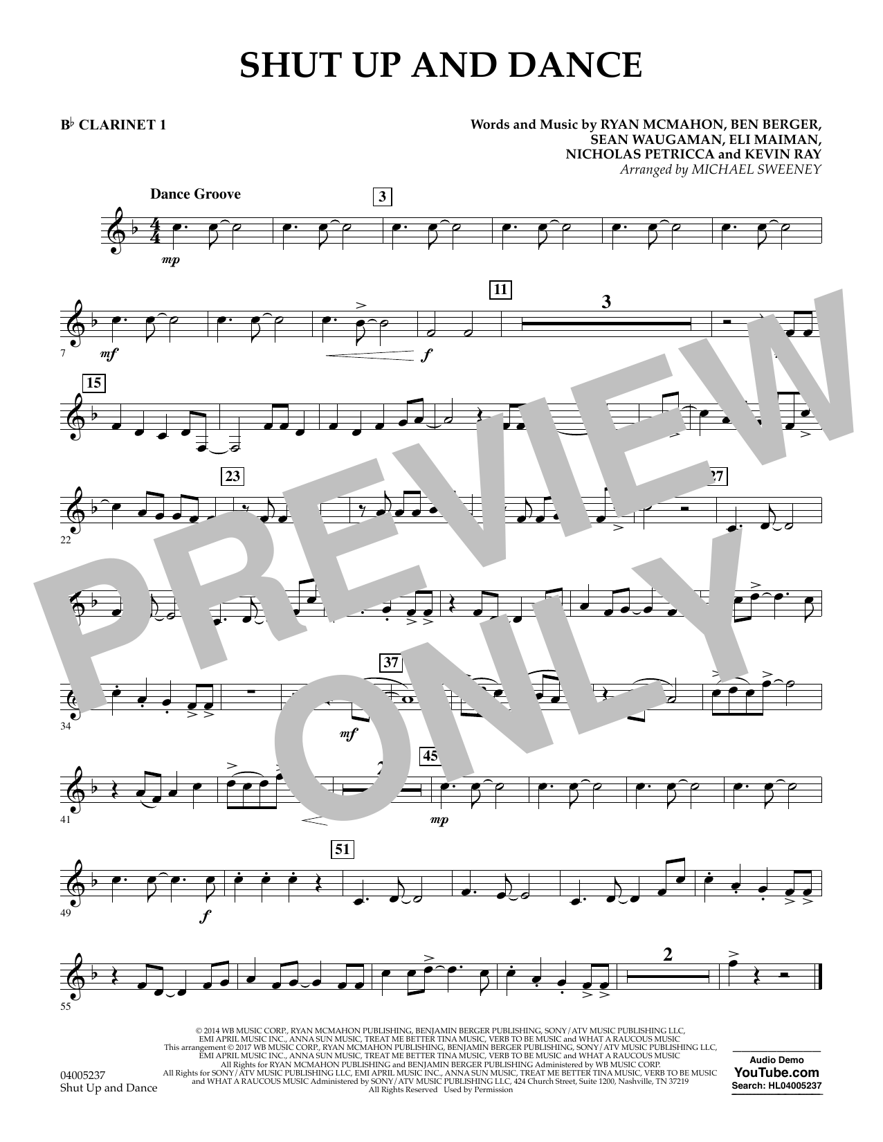 Shut Up and Dance - Bb Clarinet 1 (Concert Band)