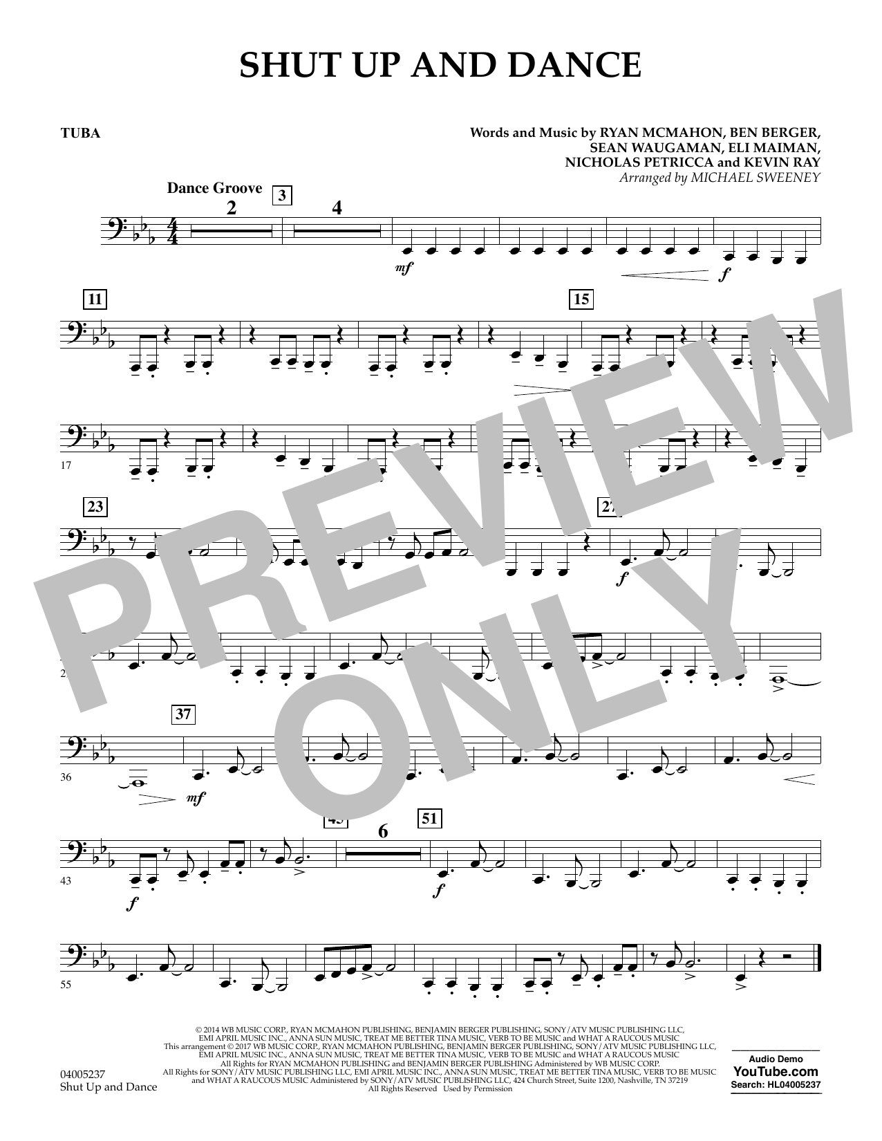 Shut Up and Dance - Tuba by Michael Sweeney Concert Band Digital Sheet Music