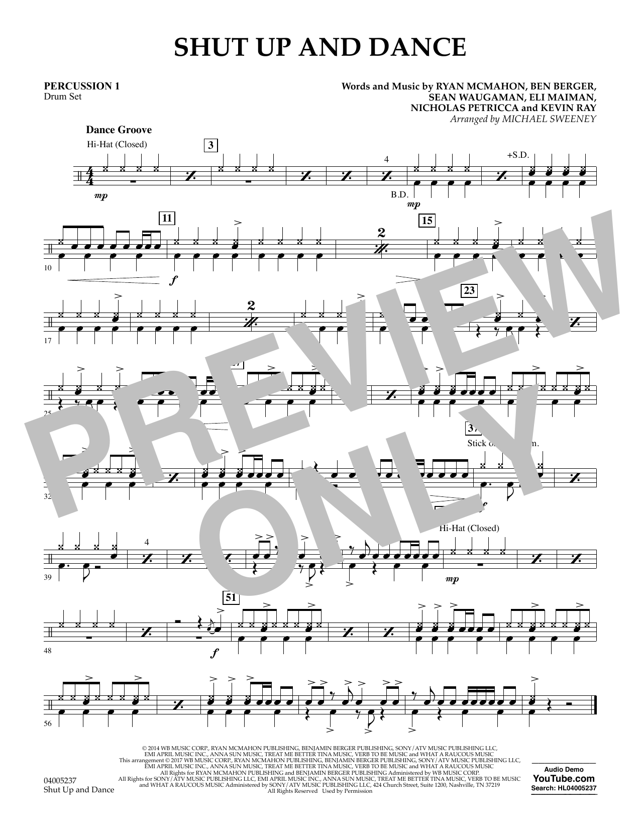 Shut Up and Dance - Percussion 1 (Concert Band)